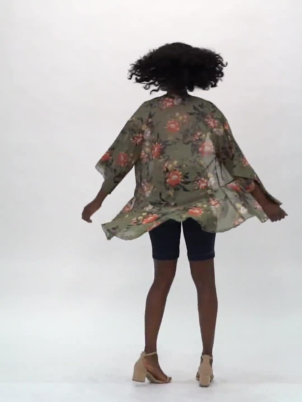 Floral Flounce Hem Kimono - Video