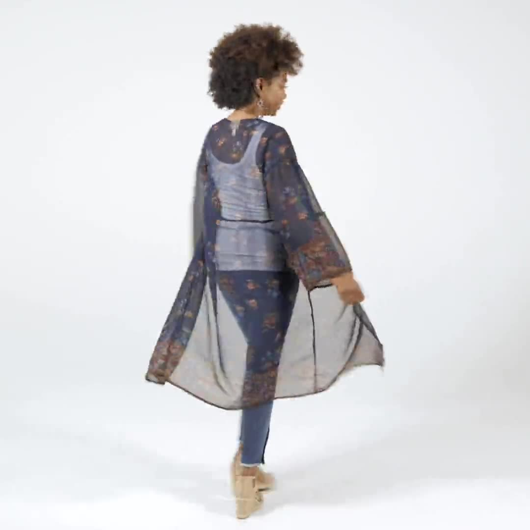 Dressbarn Floral  Border Kimono - Misses - Video