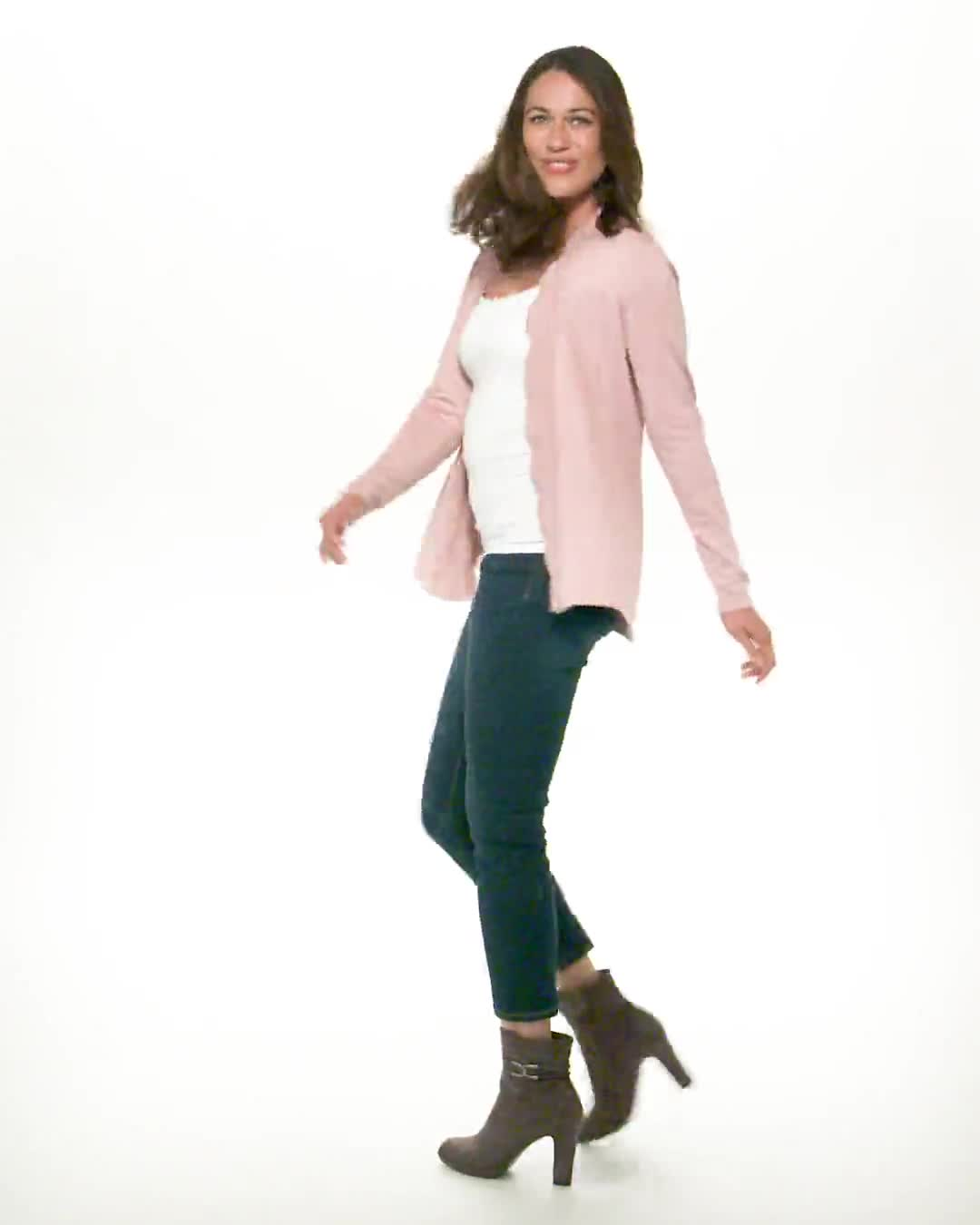 Roz & Ali Scallop Trim Cardigan - Misses - Video