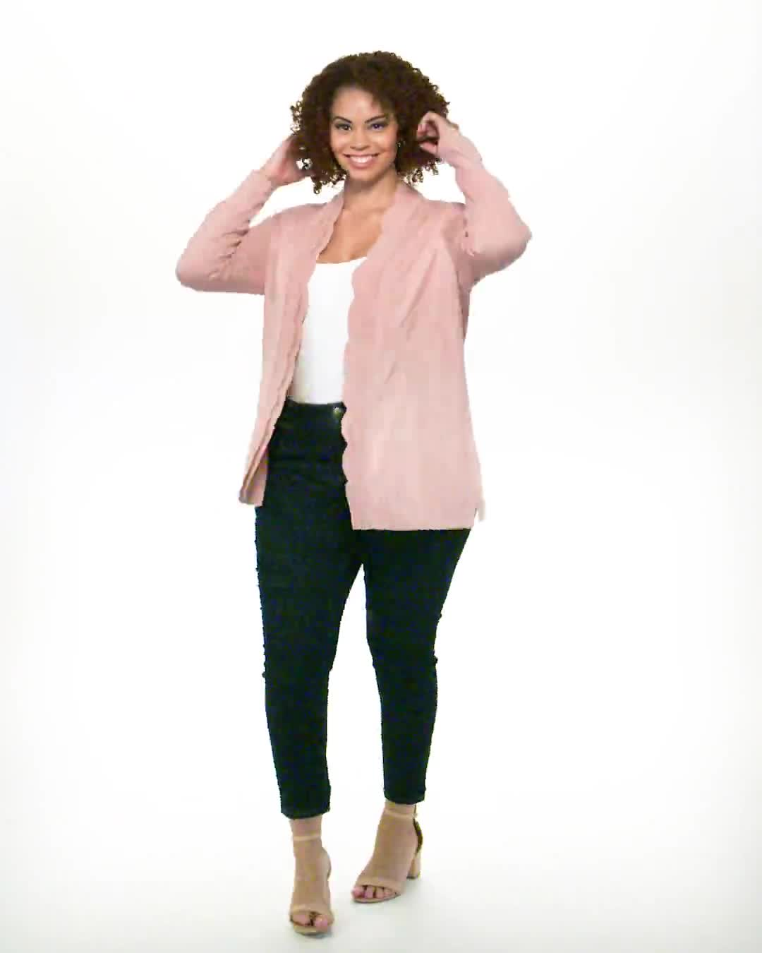 Roz & Ali Long Sleeve Scallop Trim Cardigan - Plus - Video