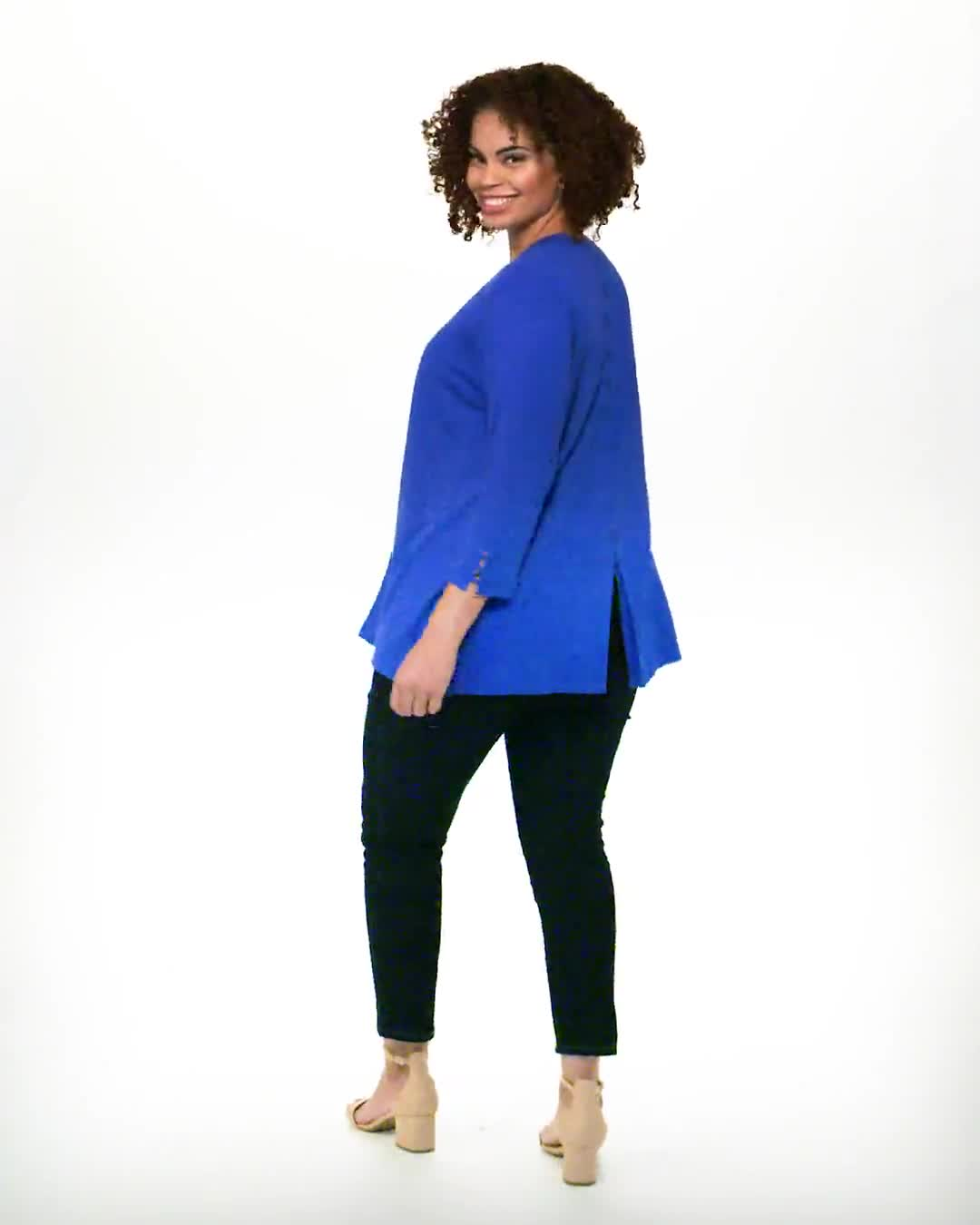 Roz & Ali Lace-Up Back Cardigan - Plus - Video