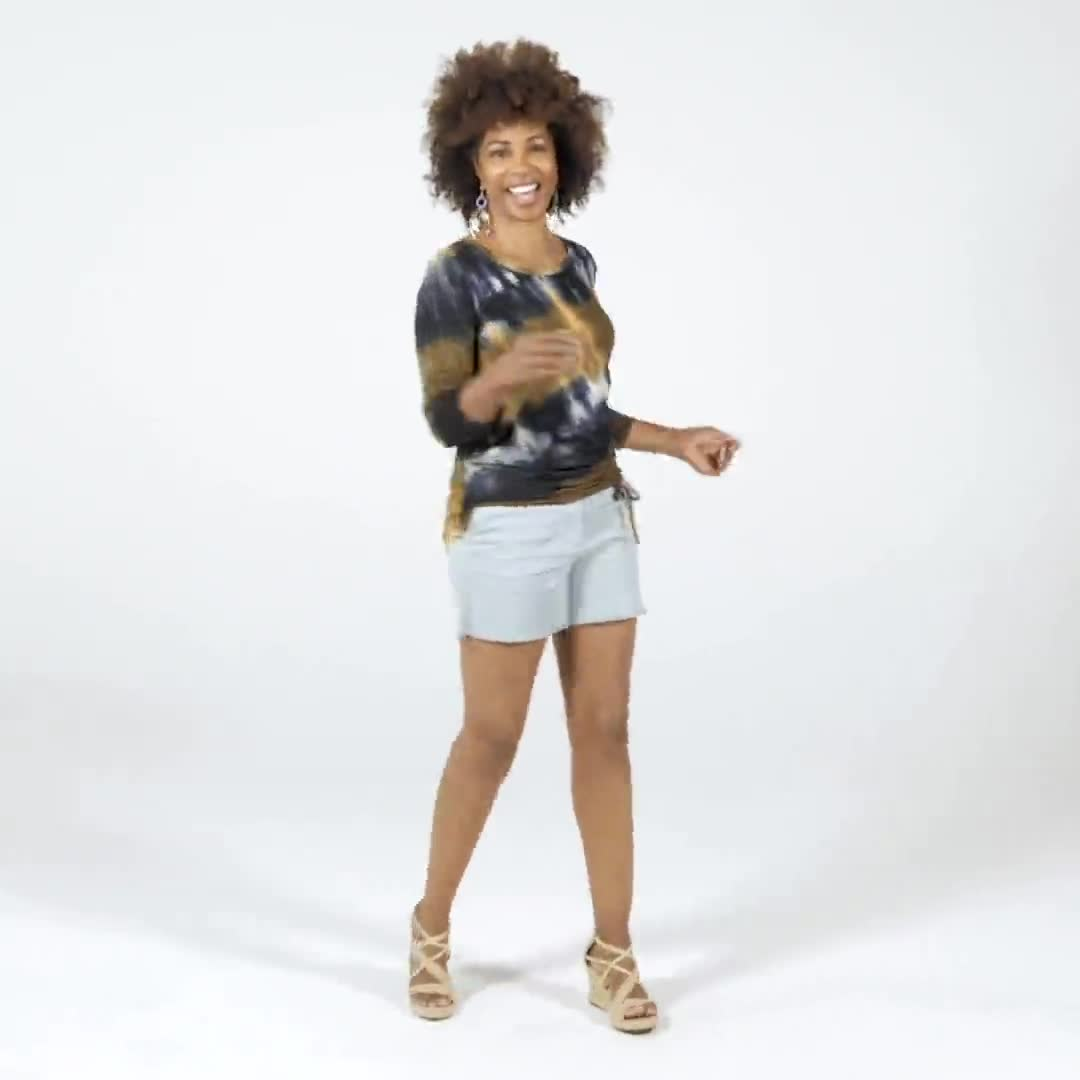 Tie Dye Side Cinched Knit Top - Misses - Video