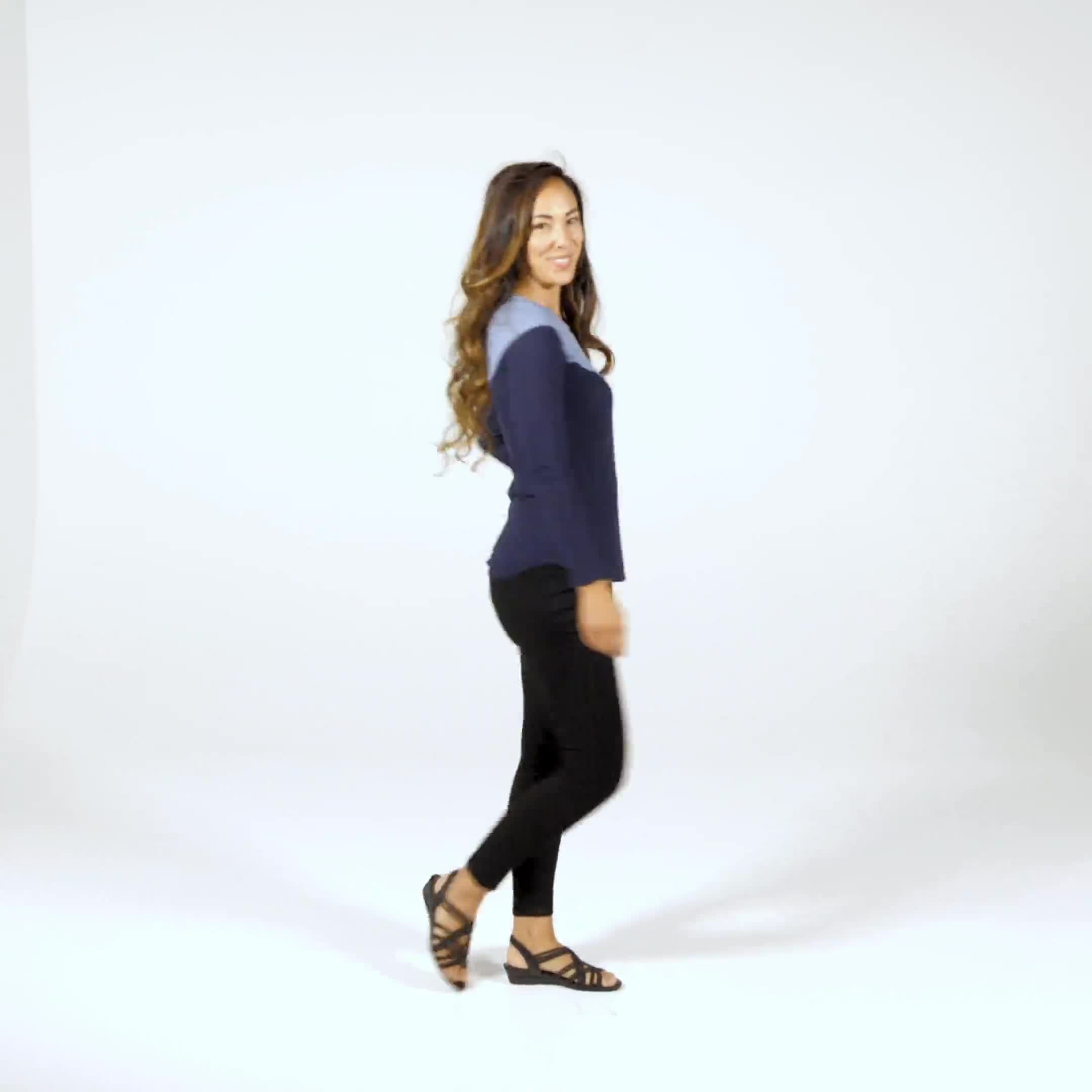 Denim Friendly Color Block Thermal Knit Top - Misses - Video