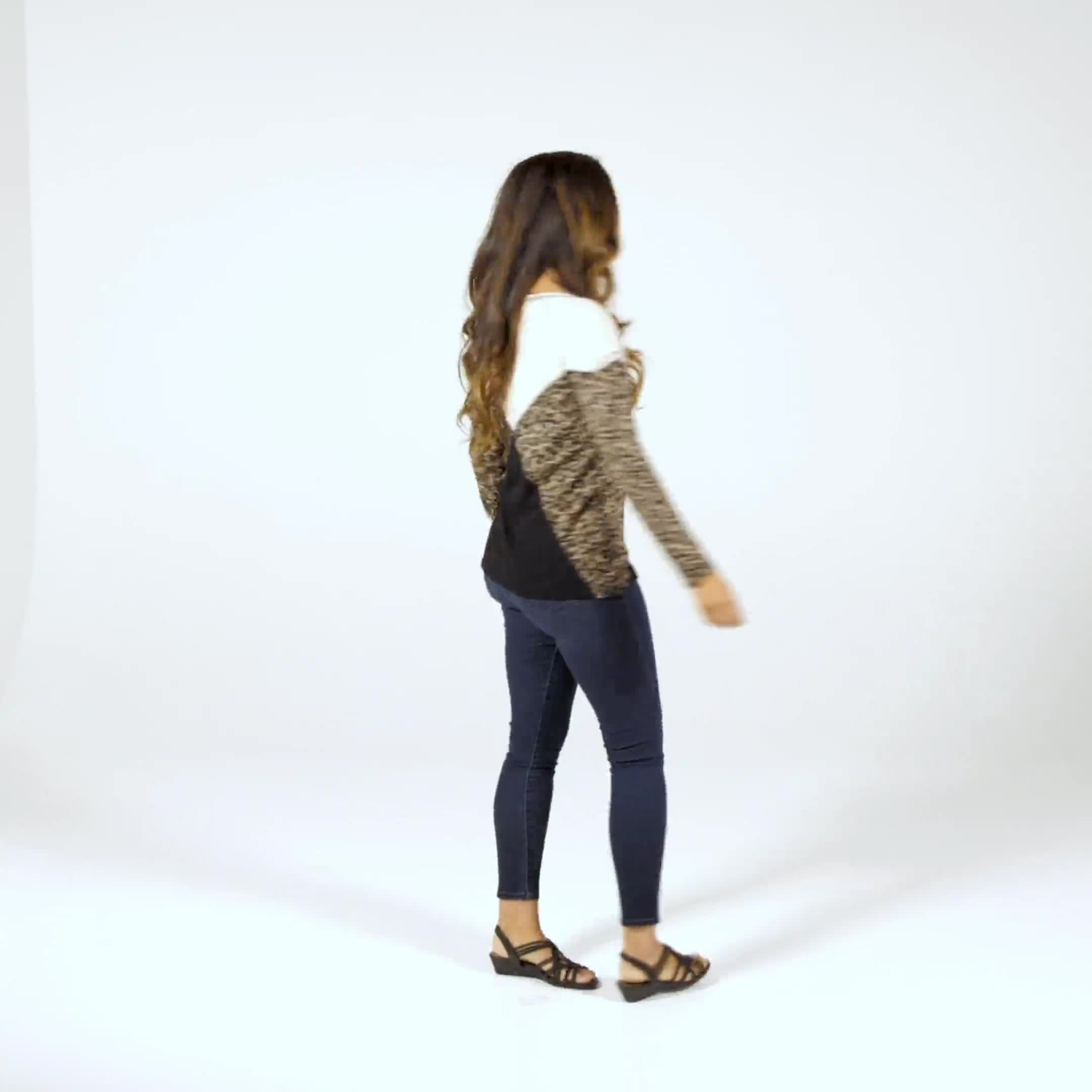 Mixed Animal Thermal Print Knit Top - Misses - Video