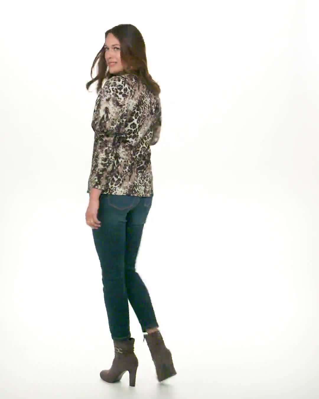 Puff Shoulder Animal Knit Top - Misses - Video