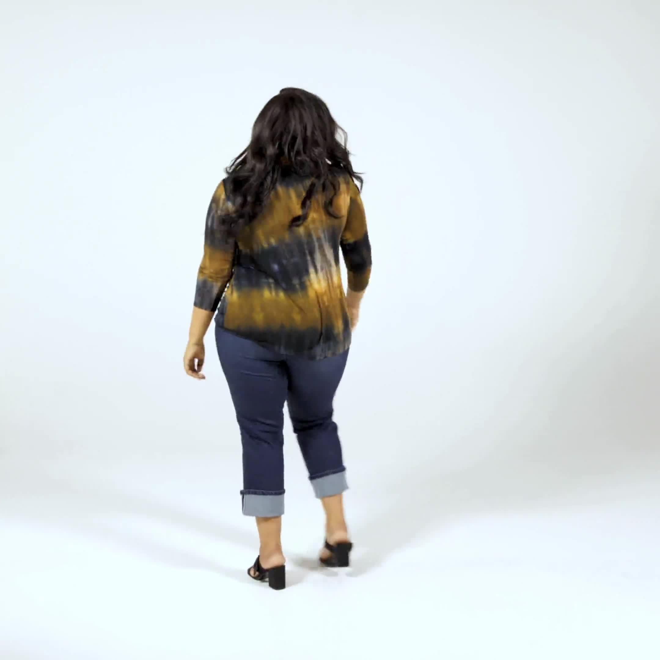 Tie Dye Side Cinched Knit Top - Plus - Video