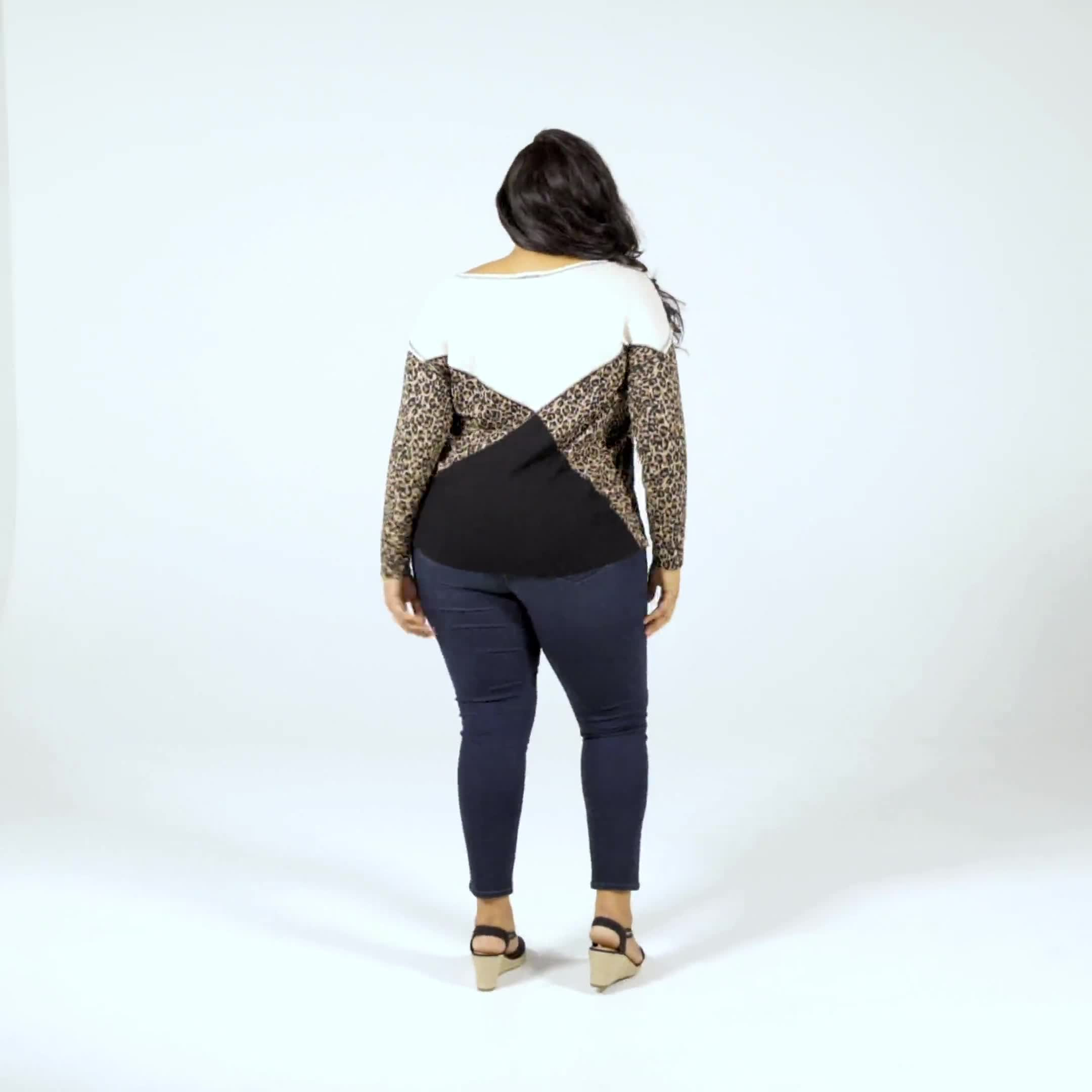 Mixed Animal Thermal Print Knit Top - Plus - Video