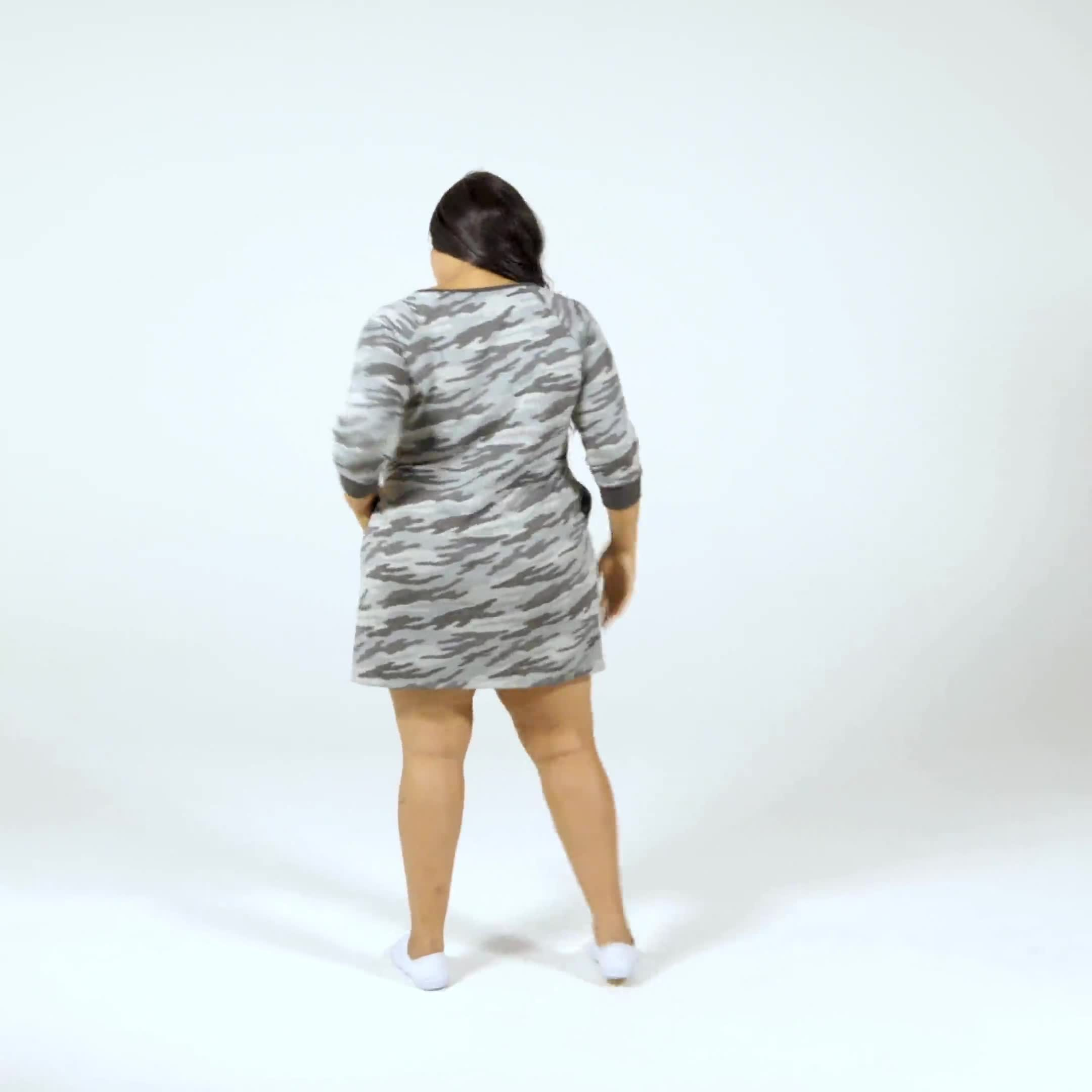 Camouflage Knit Dress - Plus - Video