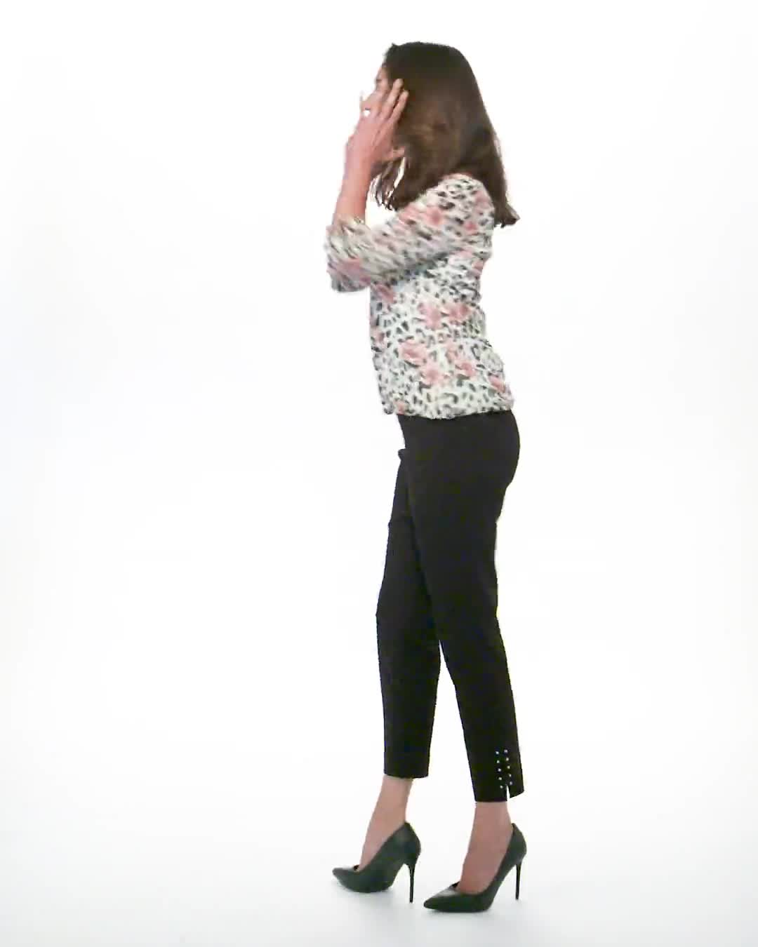 Petite Tie Sleeve Animal Print Bubble Hem Blouse - Video