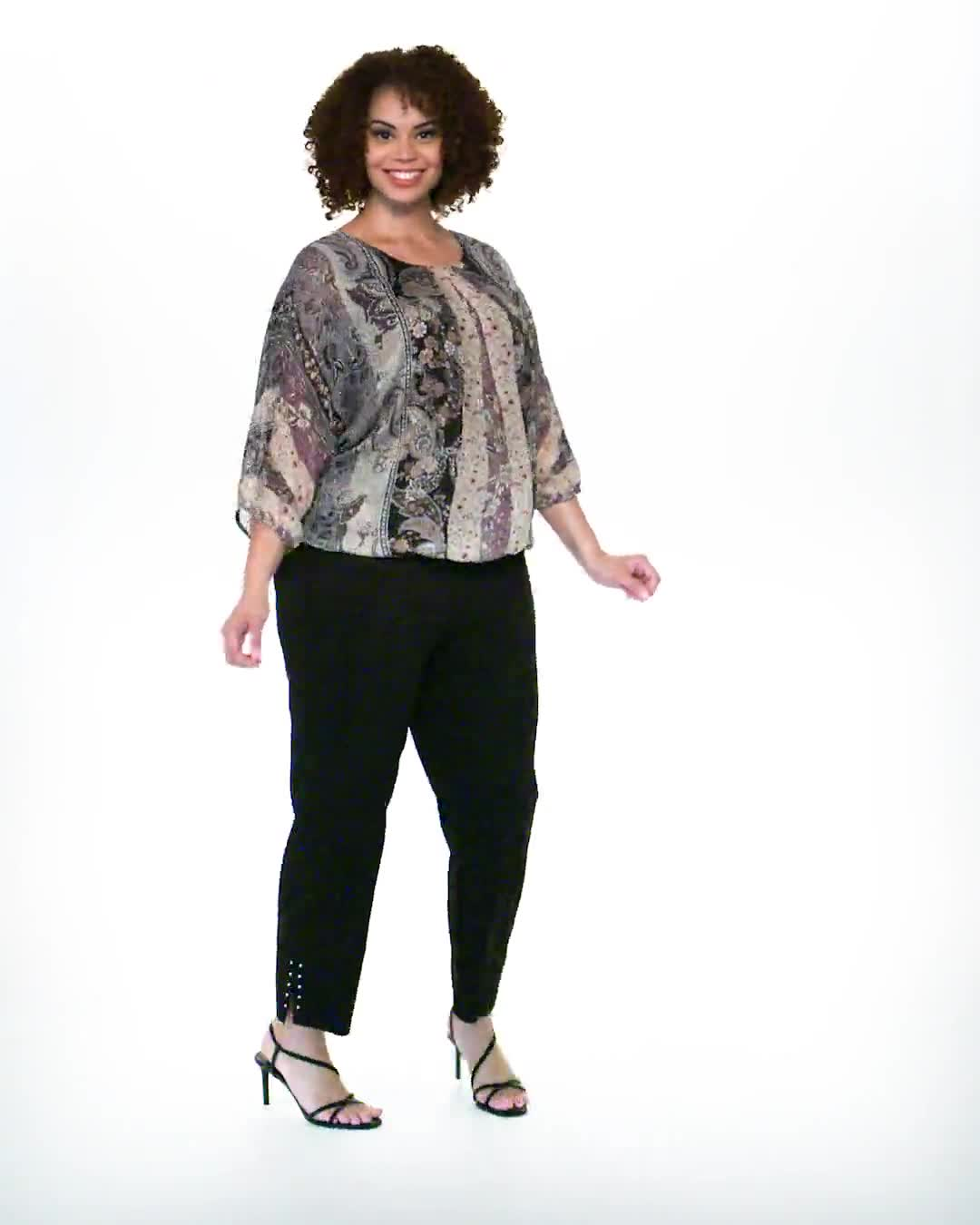 Roz & Ali Floral Bubble Hem Lurex Blouse - Plus - Video