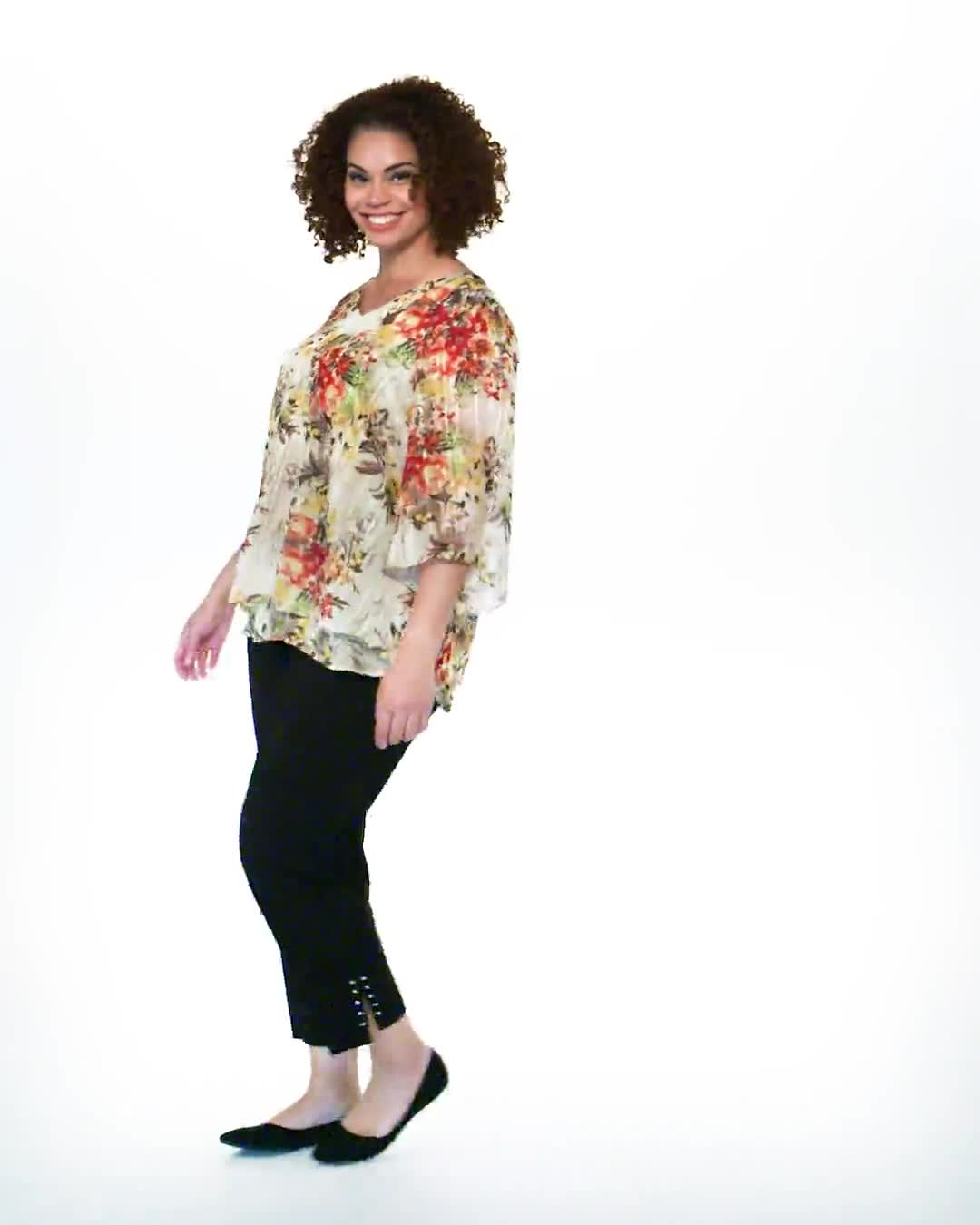 Roz & Ali Fly Away Back Lurex Blouse - Plus - Video