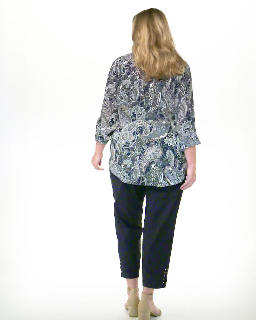 """Roz & Ali """"To Tie Or Not To Tie"""" Button Front Shirt - Plus - Video"""