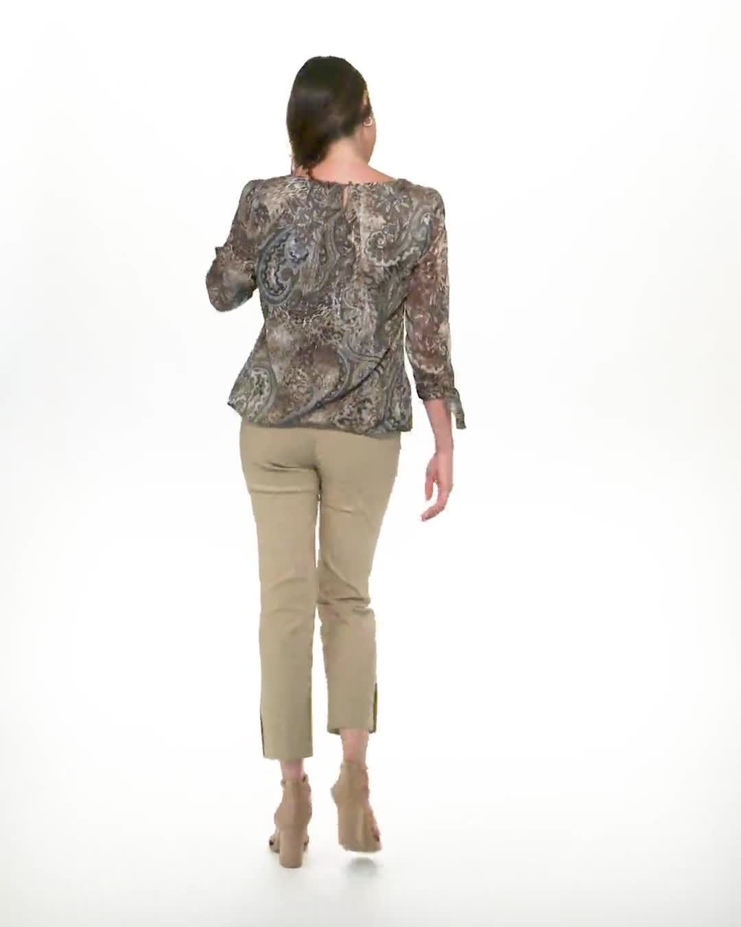 Roz & Ali Lurex Paisley Bubble Hem Blouse - Video