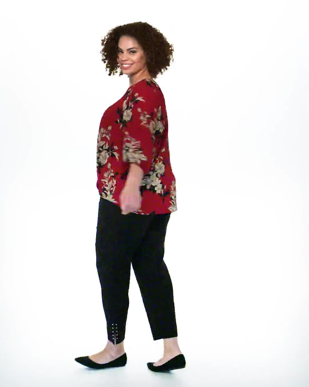 Roz & Ali Floral Crepe Texture Knot Blouse - Plus - Video
