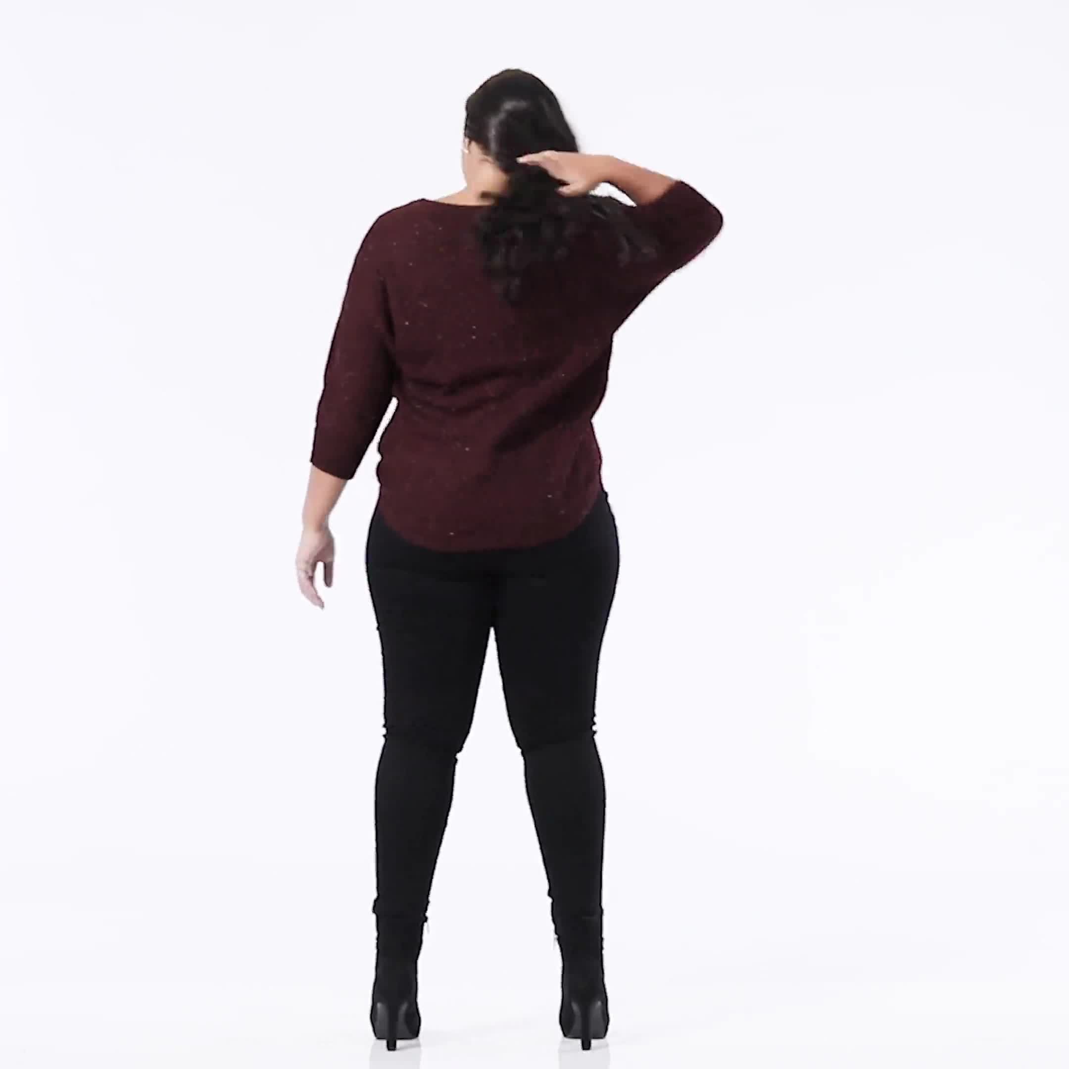 Westport Thermal Stitch Curved Hem Sweater - Plus - Video