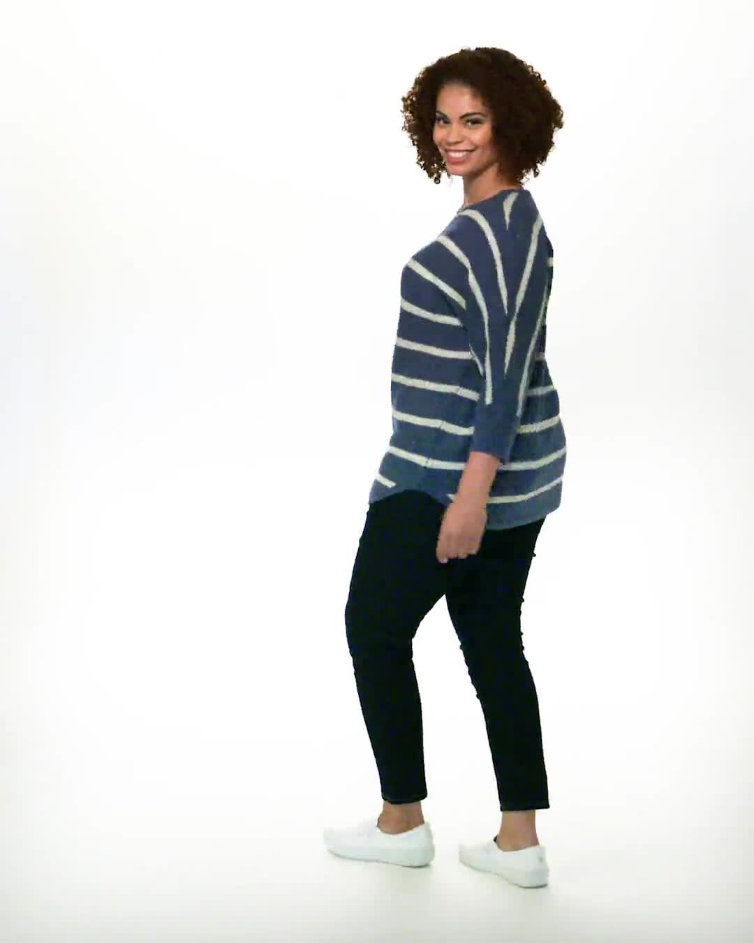 Westport Stripe Curved Hem Sweater - Plus - Video
