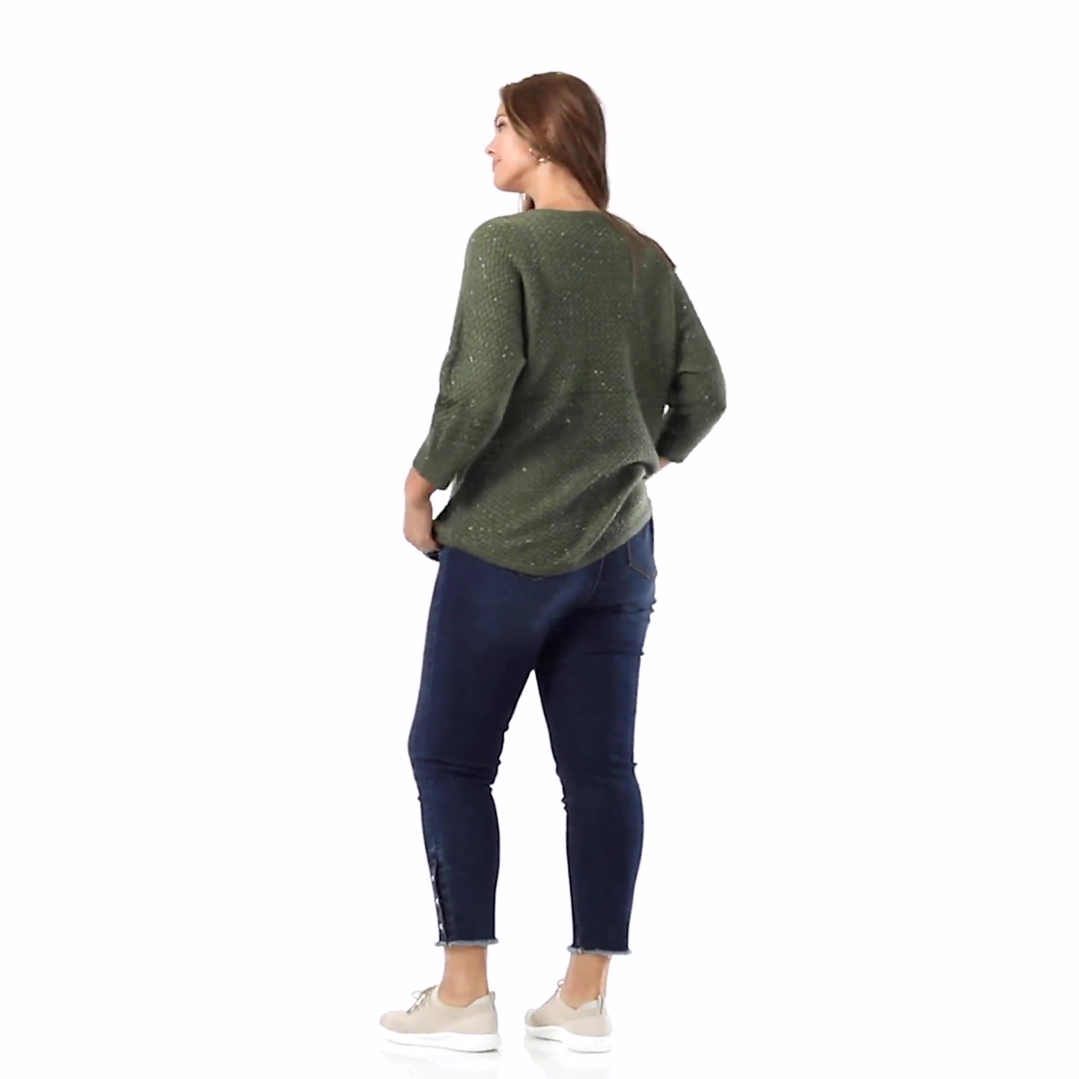 Westport Zig Zag Stitch Curved Hem Sweater - Plus - Video