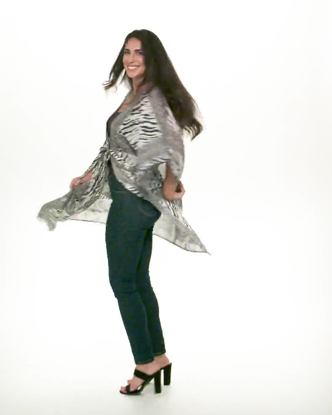 Animal Tie Front Belted Kimono - Misses - Video