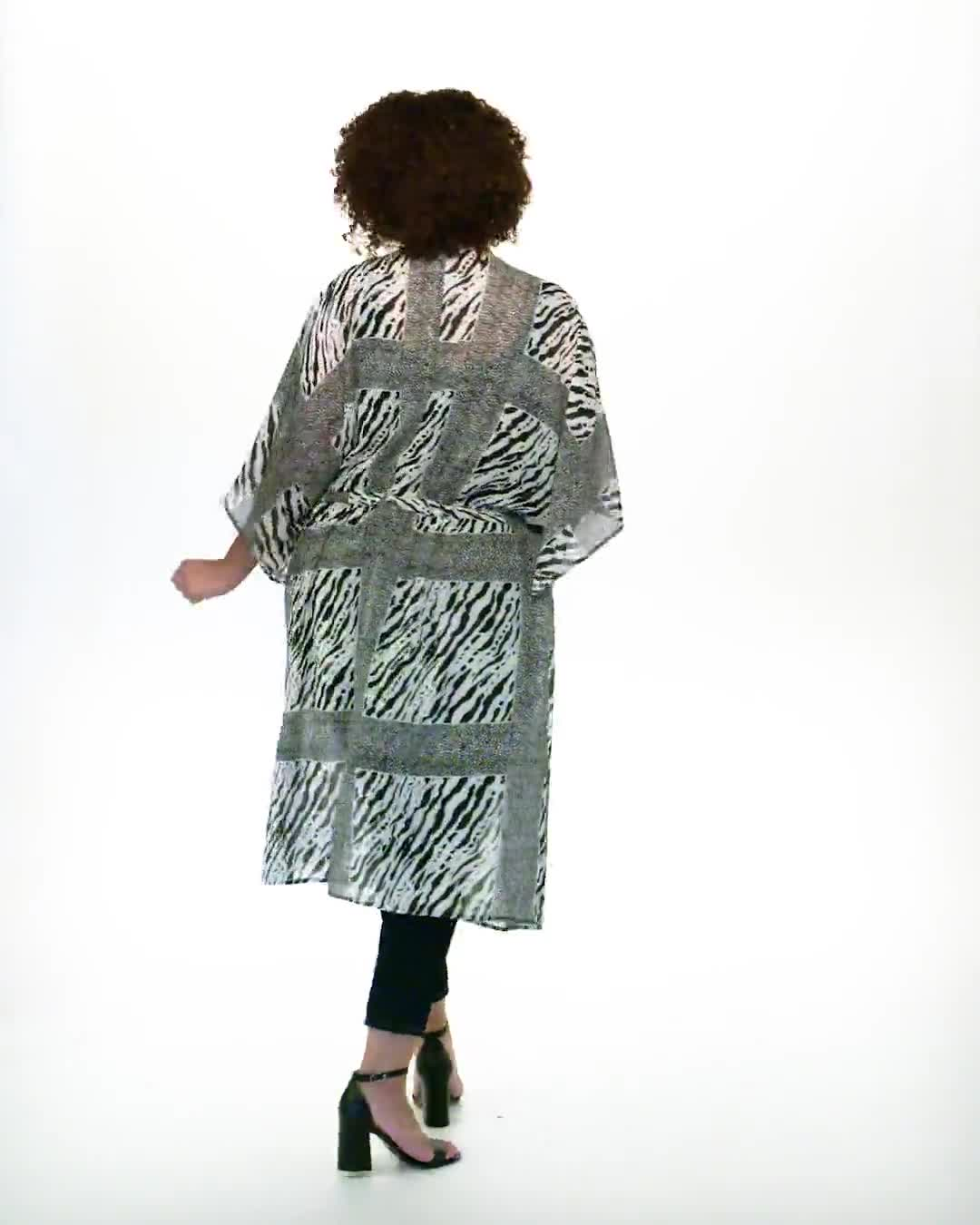 Animal Tie Front Belted Kimono - Plus - Video
