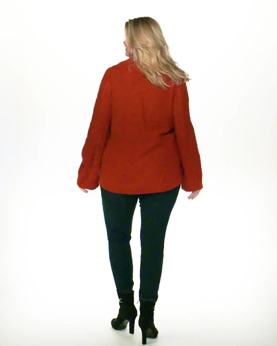 Westport Novelty Sleeve Curved Hem Sweater - Plus - Video