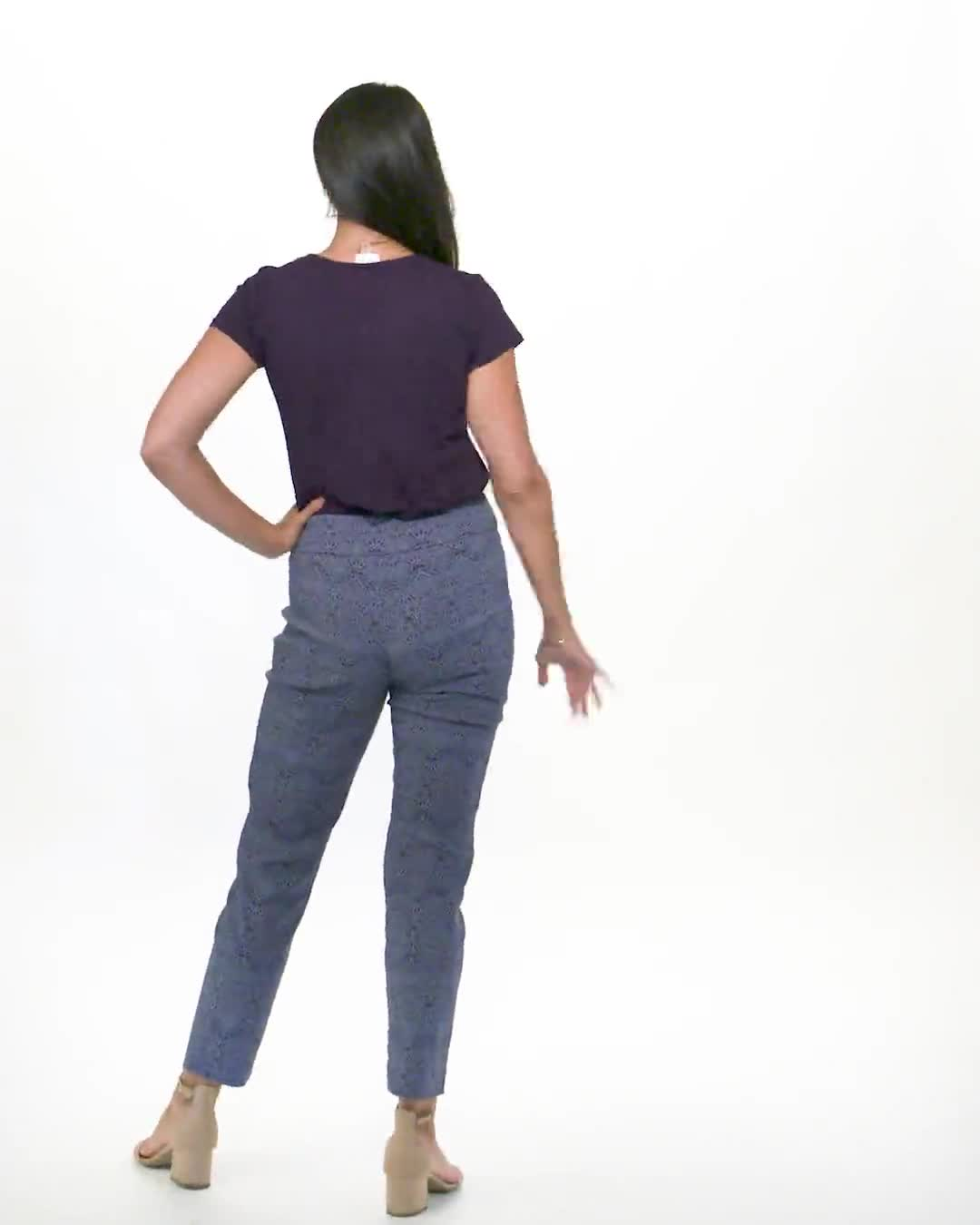 Roz & Ali Printed Superstretch Pull On Ankle Pants With Slits - Video