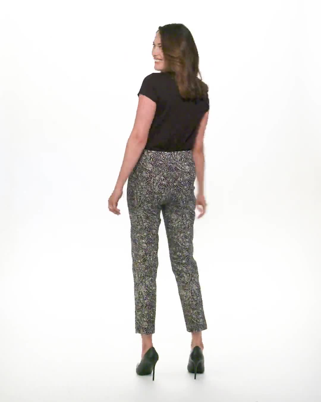 Roz & Ali Paisley Print Superstretch Pull On Ankle Pants With Slits - Video