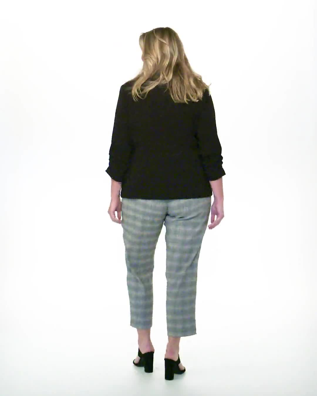 Roz & Ali Yarn Dye Plaid Pull On Waist Ankle Pant - Plus - Video