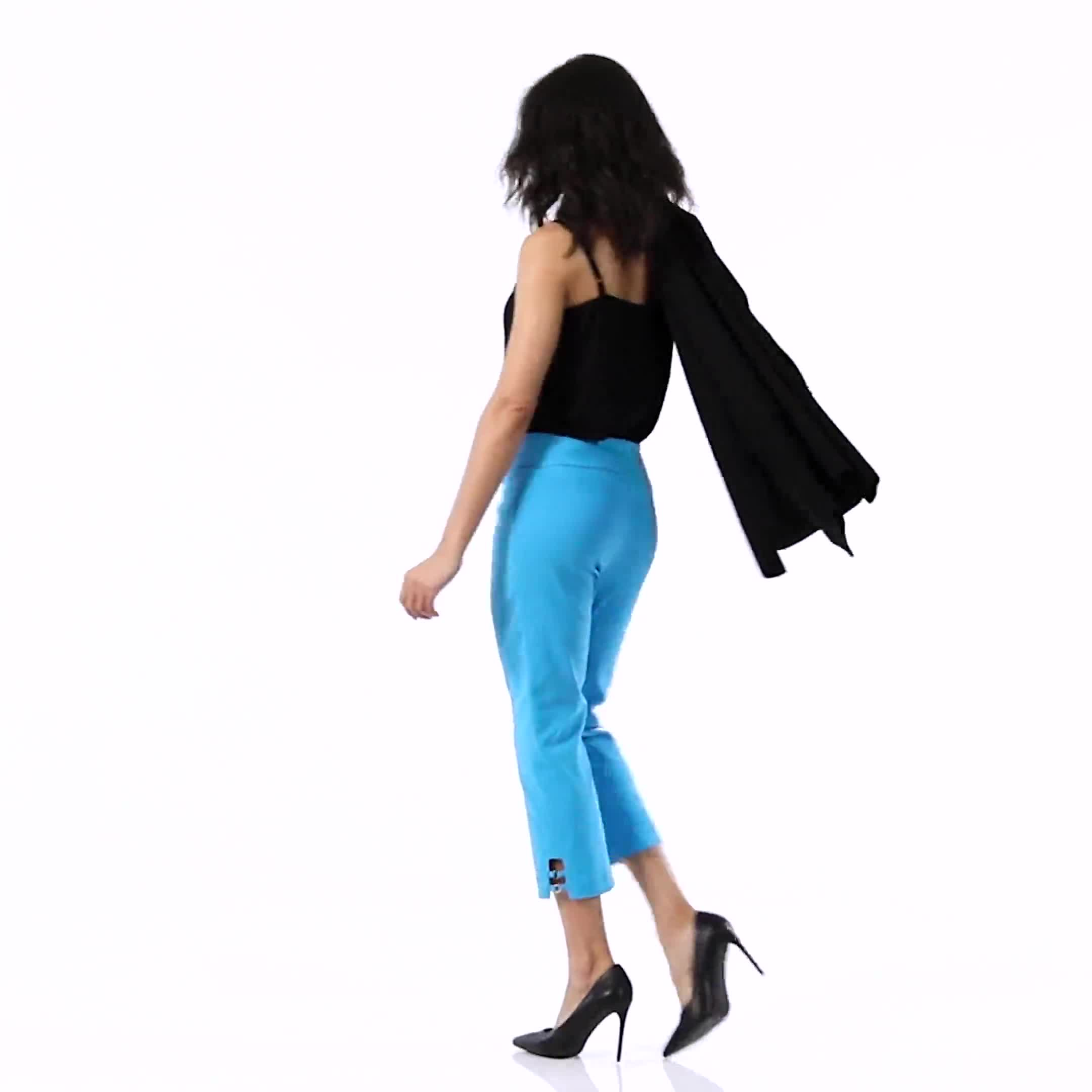 Superstretch Pull On Capri Pant With Tabs And Grommet Trim Hem Detail - Video