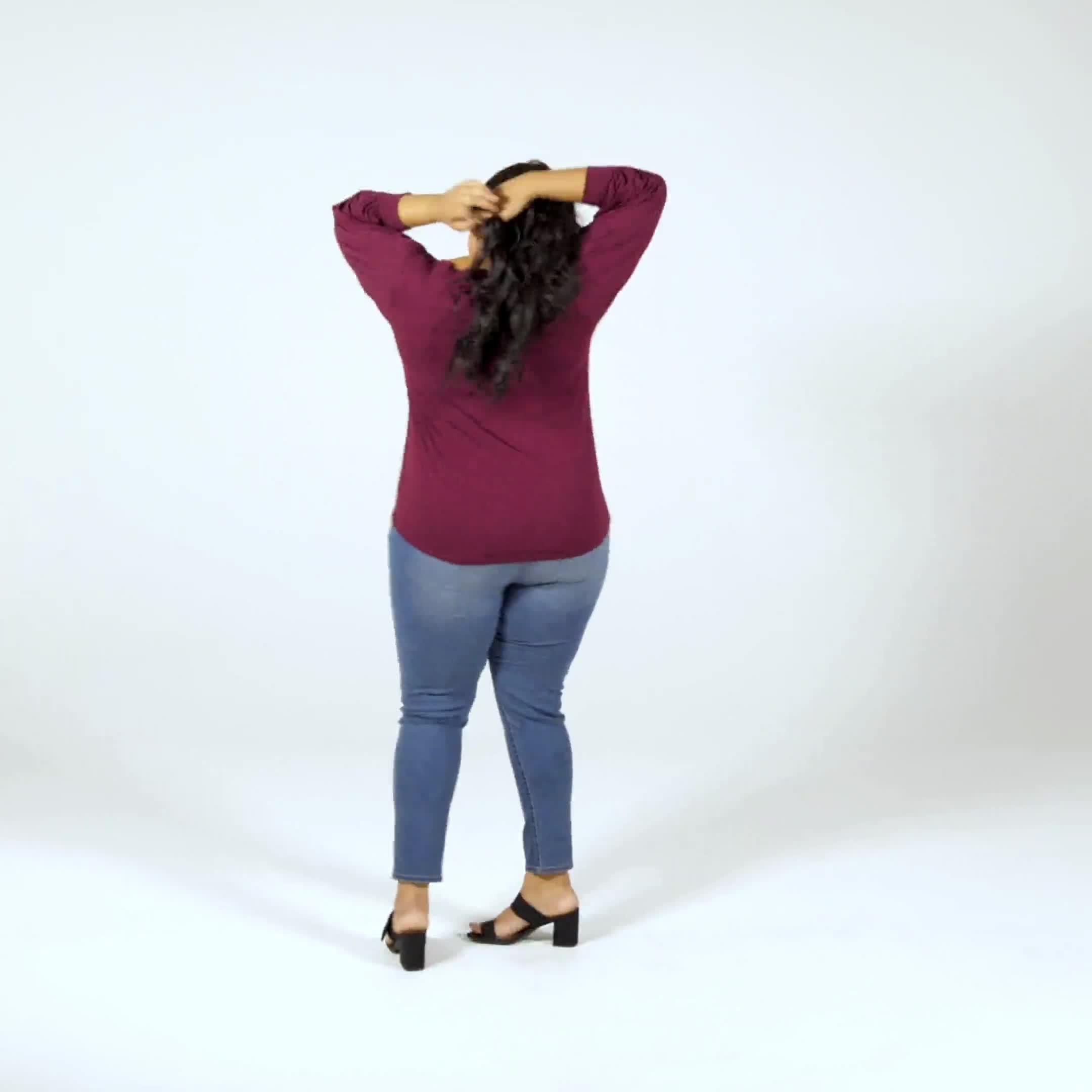 3/4 Sleeve Scoop  Puff Sleeve Knit Top - Plus - Video