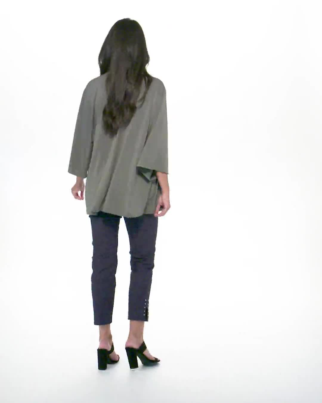 Roz & Ali Novelty Sleeve Grommet Cardigan - Video