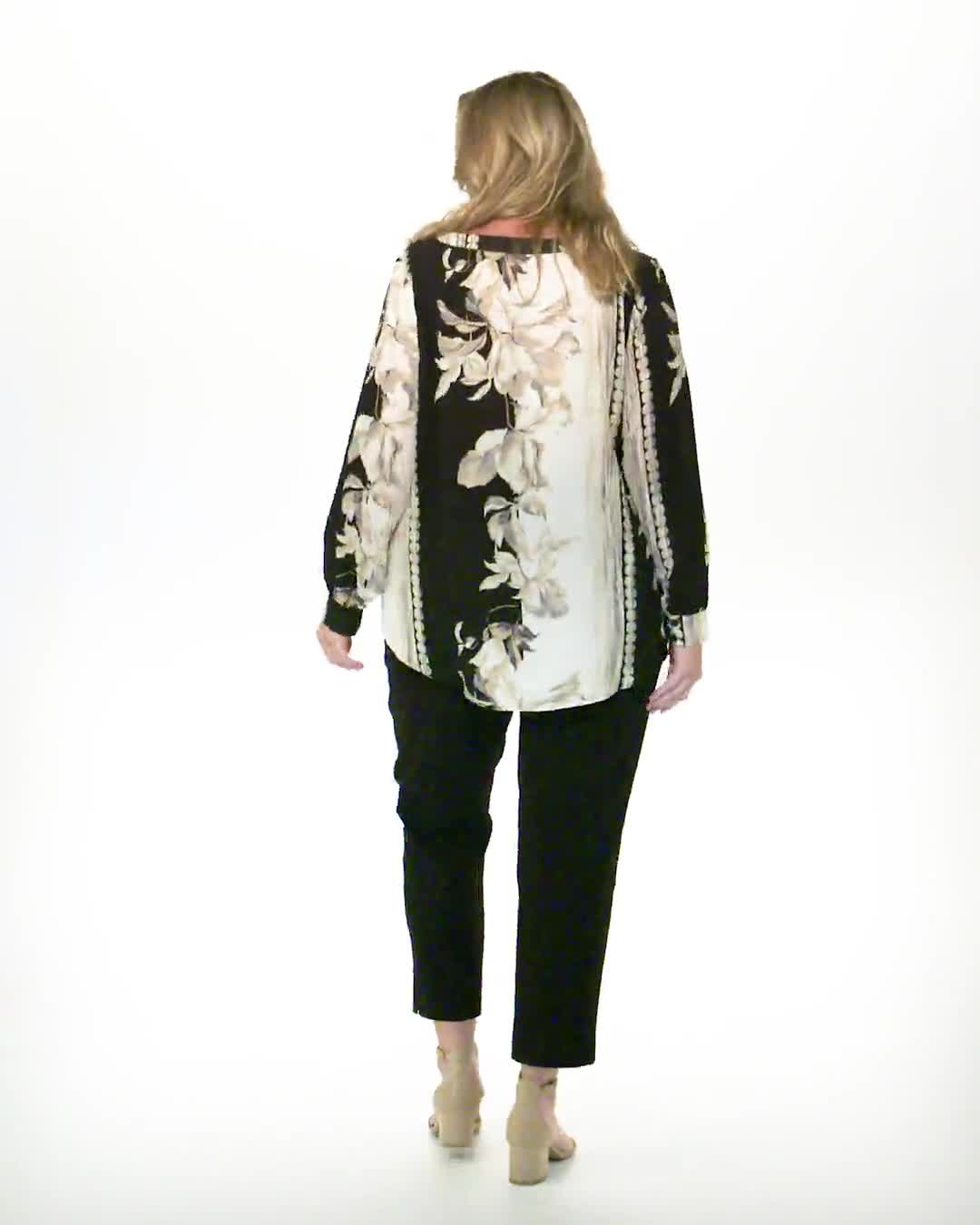 Long Sleeve Placed Floral Blouse - Video