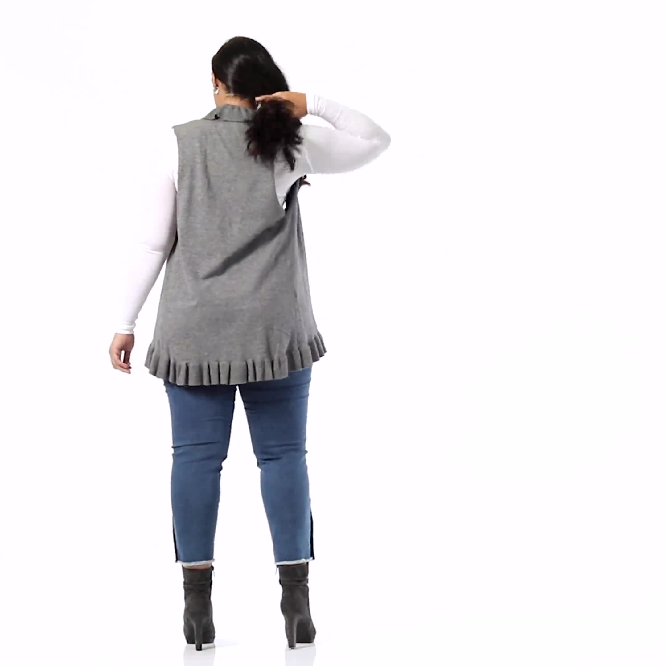 Roz & Ali Ruffle Sweater Vest - Plus - Video