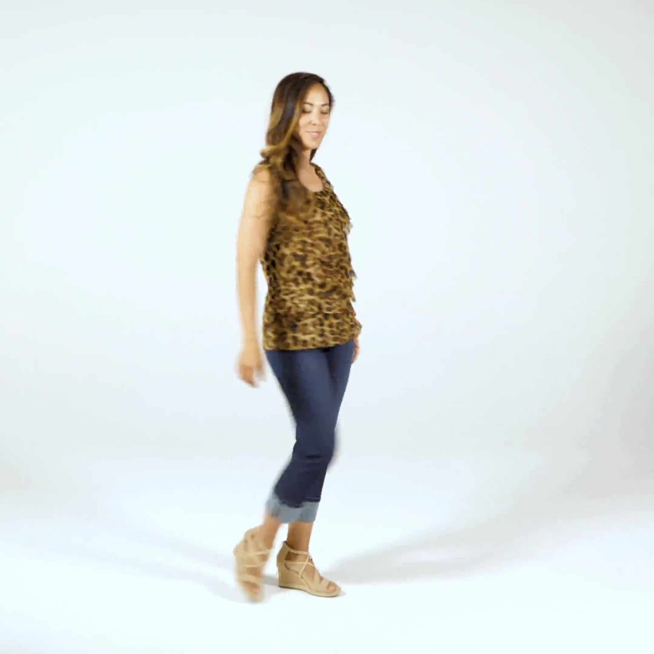 Animal Mesh Tier Knit Top - Misses - Video
