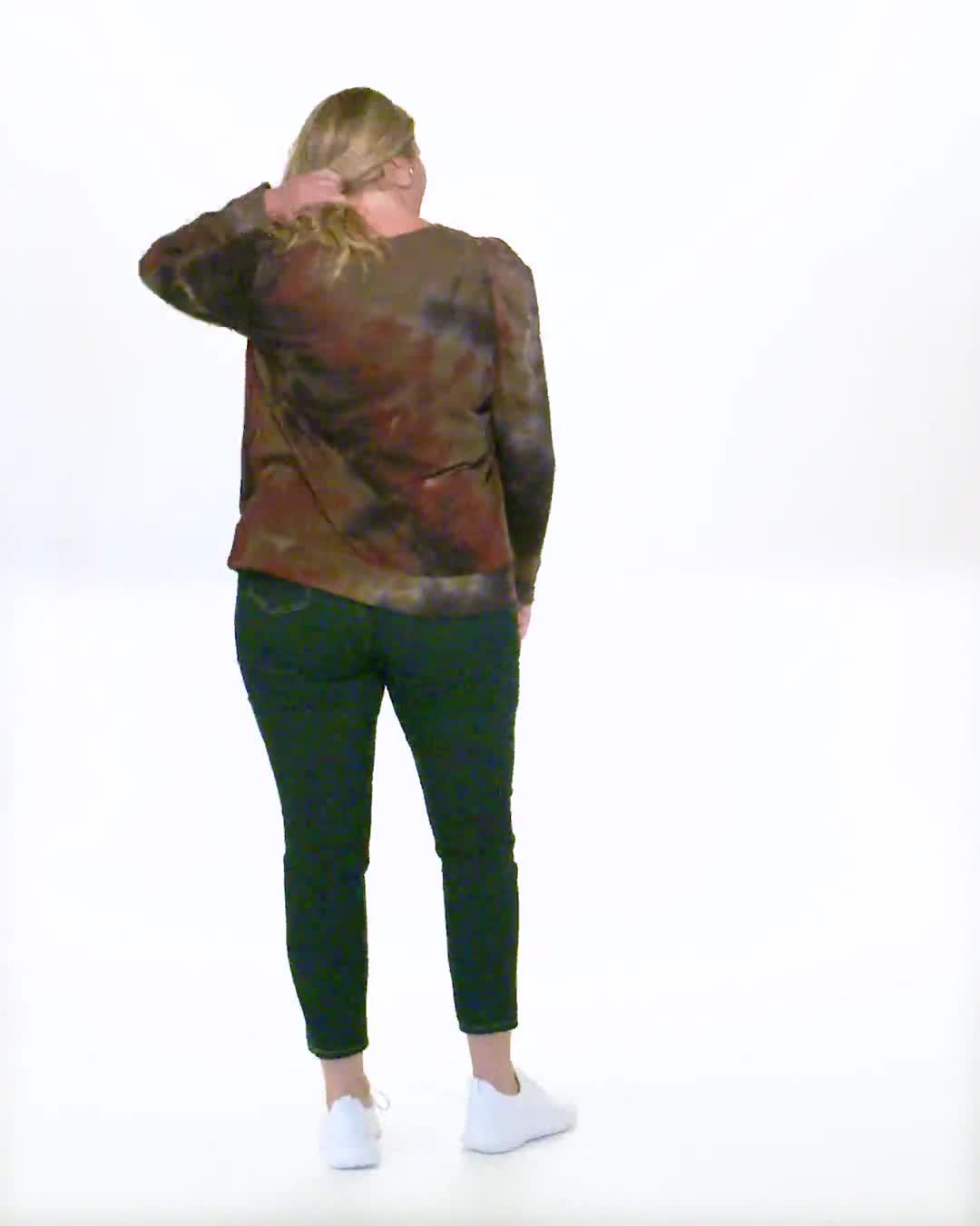 Tie Dye Puff Sleeve Sweatshirt - Plus - Video