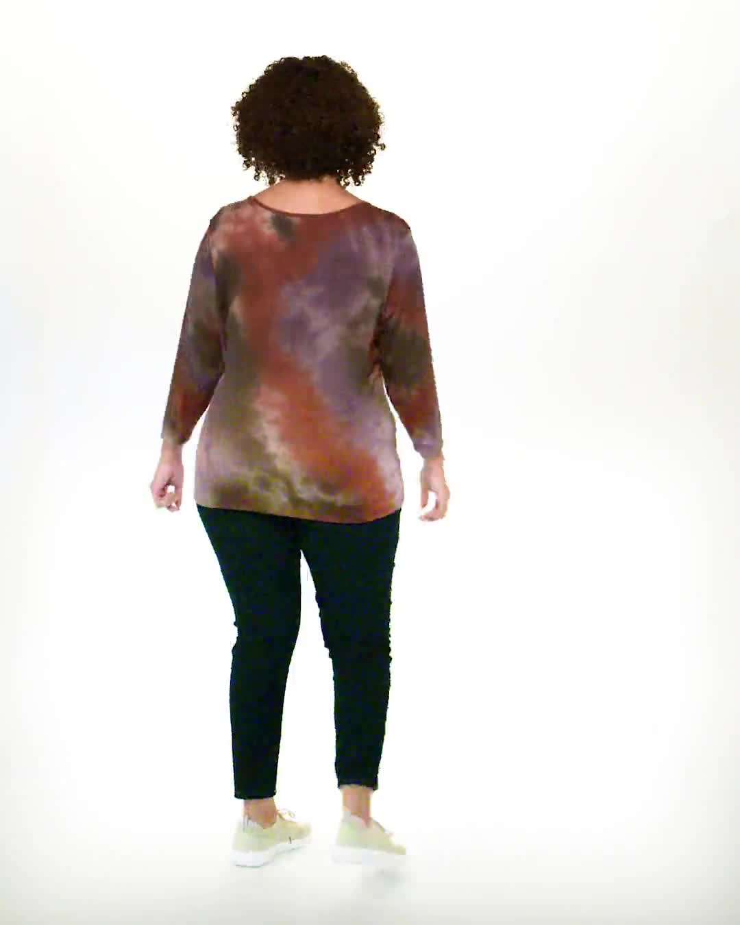 Multi Color Tie Dye Knit Top - Plus - Video