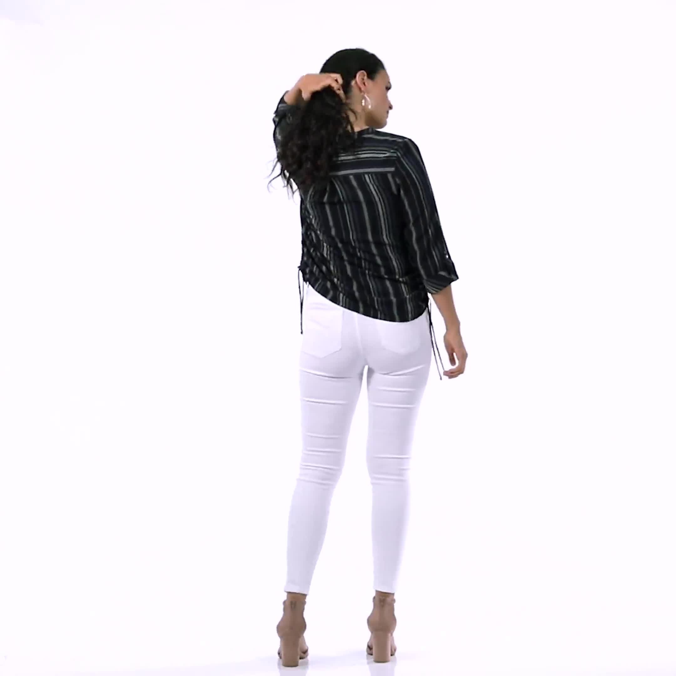 Roz & Ali Stripe Side Tie Blouse - Misses - Video