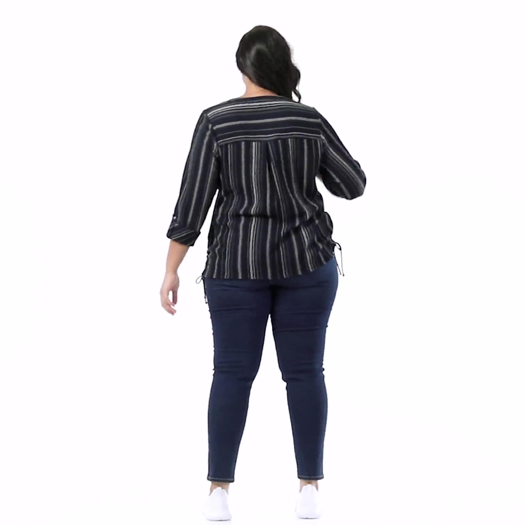 Roz & Ali Stripe Side Tie Blouse - Plus - Video