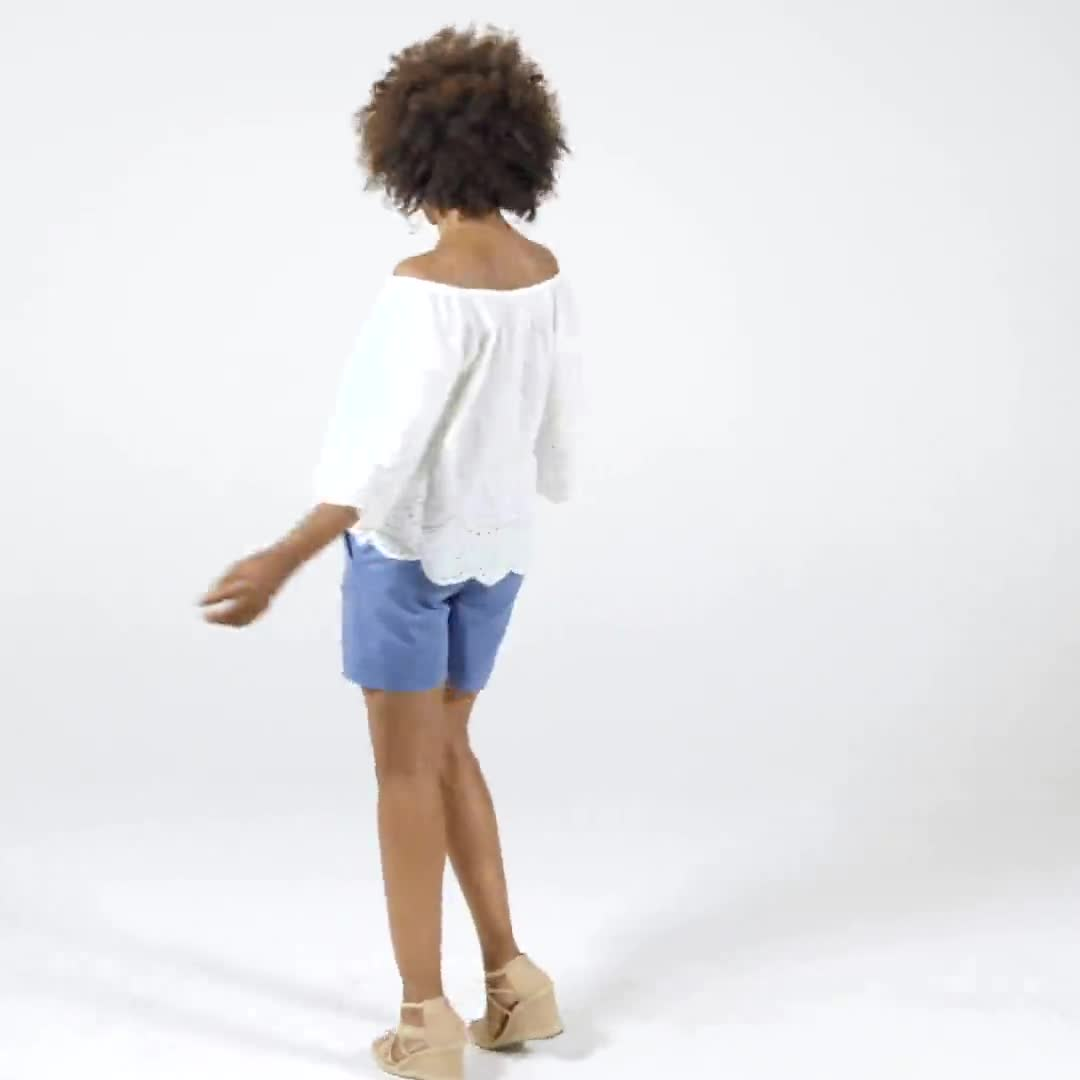 Embroidered Off The Shoulder Woven Top - Video