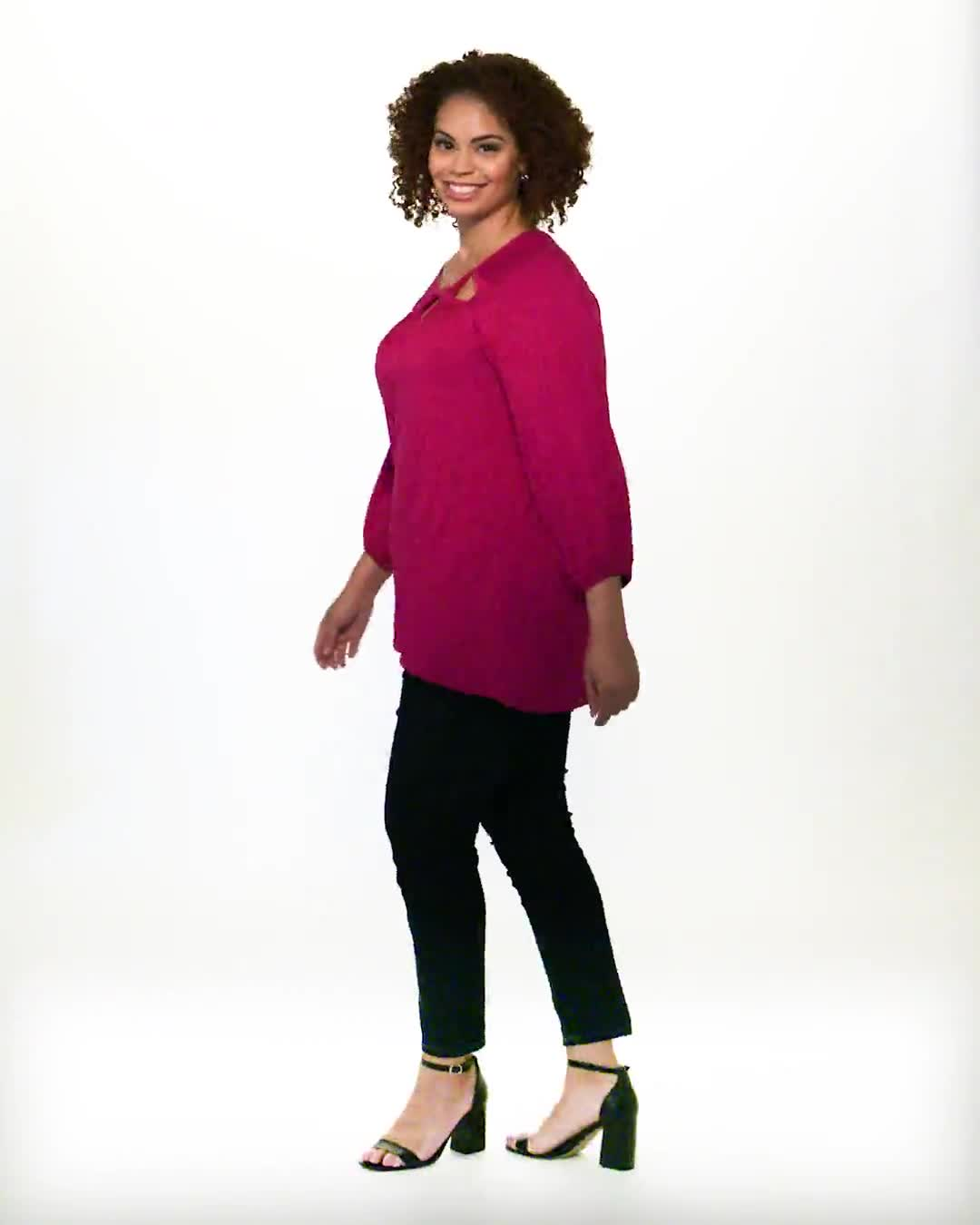 3/4 Sleeve Twist Cut Out Neck Top - Plus - Video