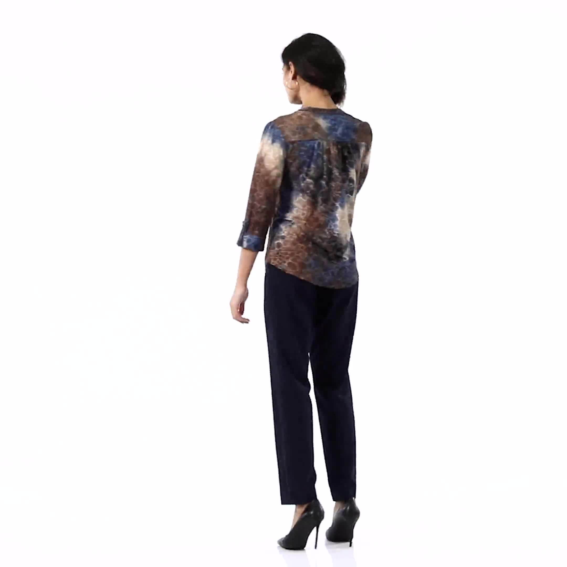 Jaquard Denim Friendly Tie Dye Knit Popover - Misses - Video