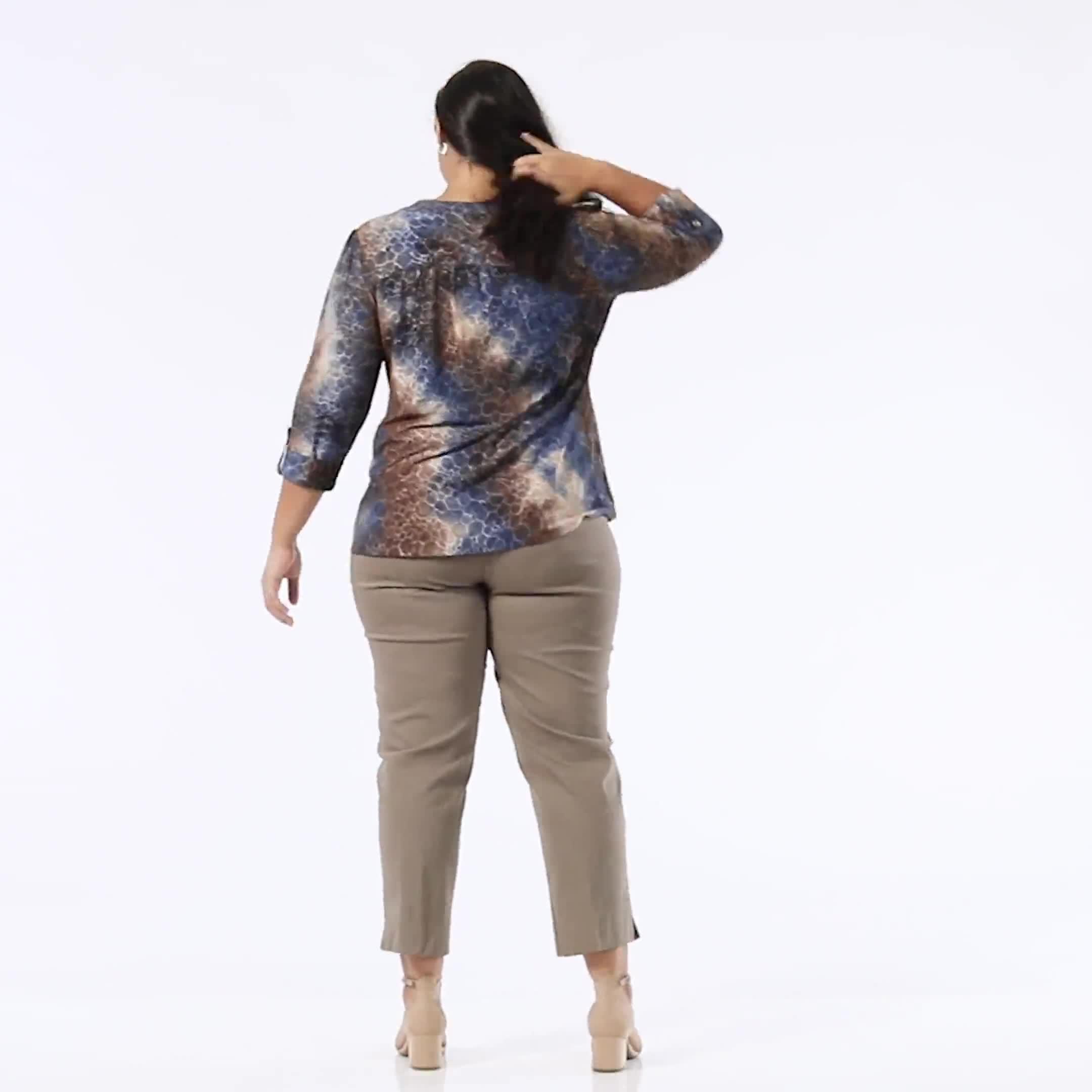 Roz & Ali Jacquard Tie Dye Knit Popover - Plus - Video
