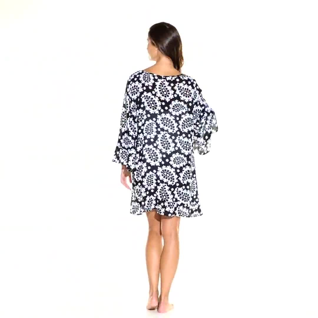 Anne Cole® Riveria Paisley Flounce Sleeve Tunic Swimsuit Cover-Up - Video