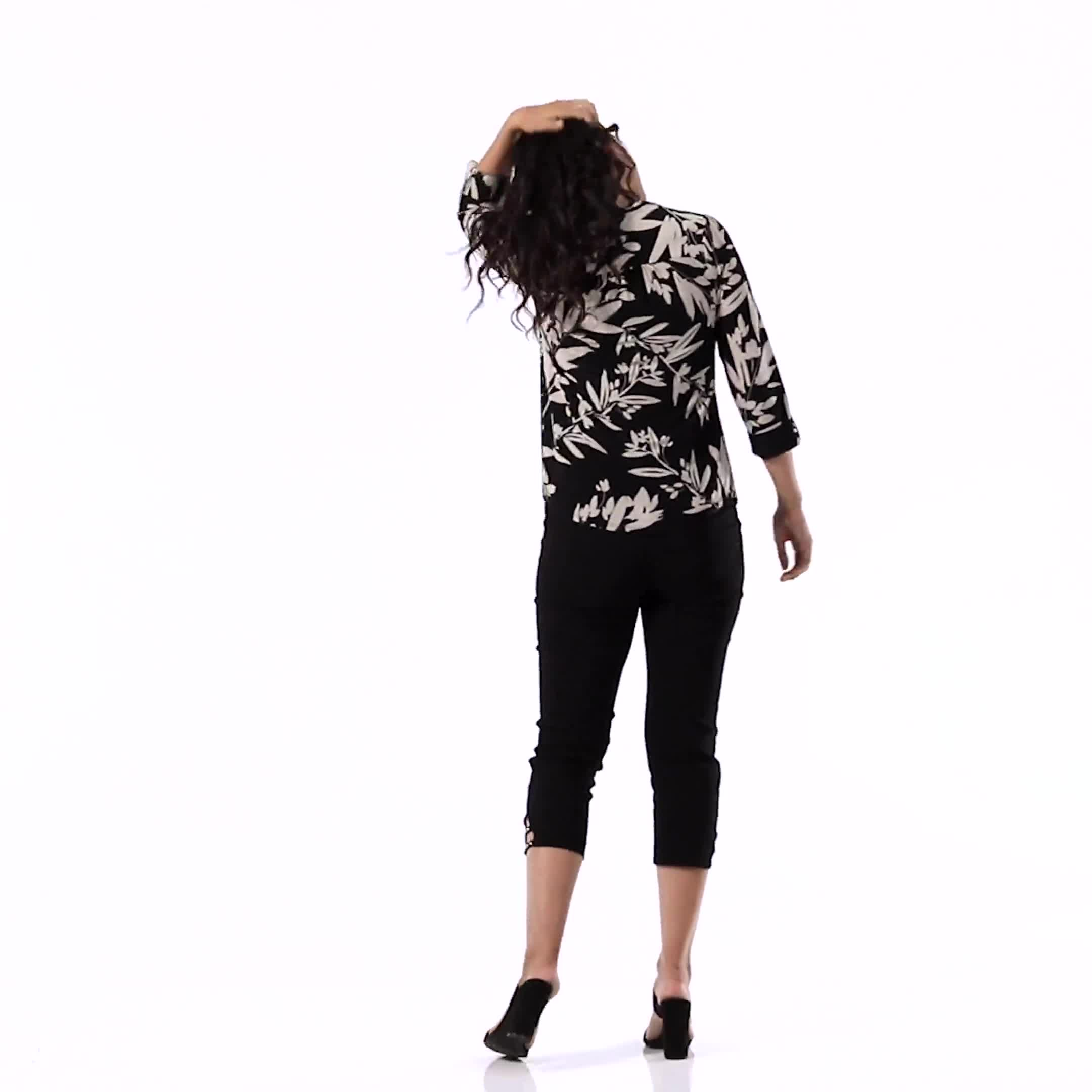 Neutral Vine Floral Knit Popover - Misses - Video