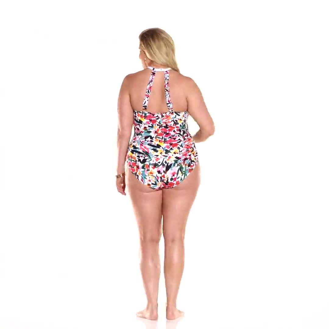 Anne Cole® Sunset Floral Hi Neck One Piece Swimsuit - Video