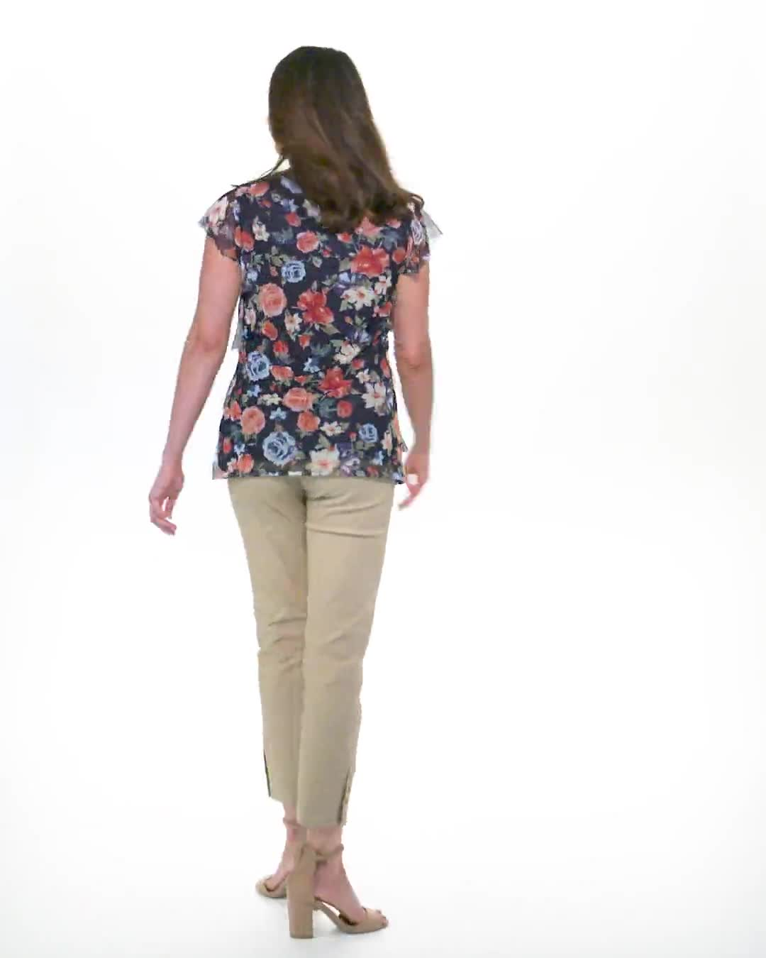 Floral Mesh Tier Knit Top - Misses - Video