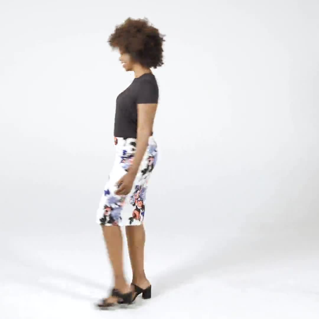 Printed scuba crepe skirt - Video