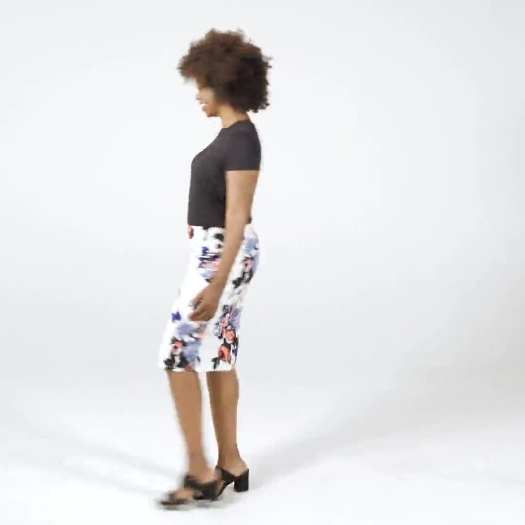 Printed scuba crepe skirt - Video
