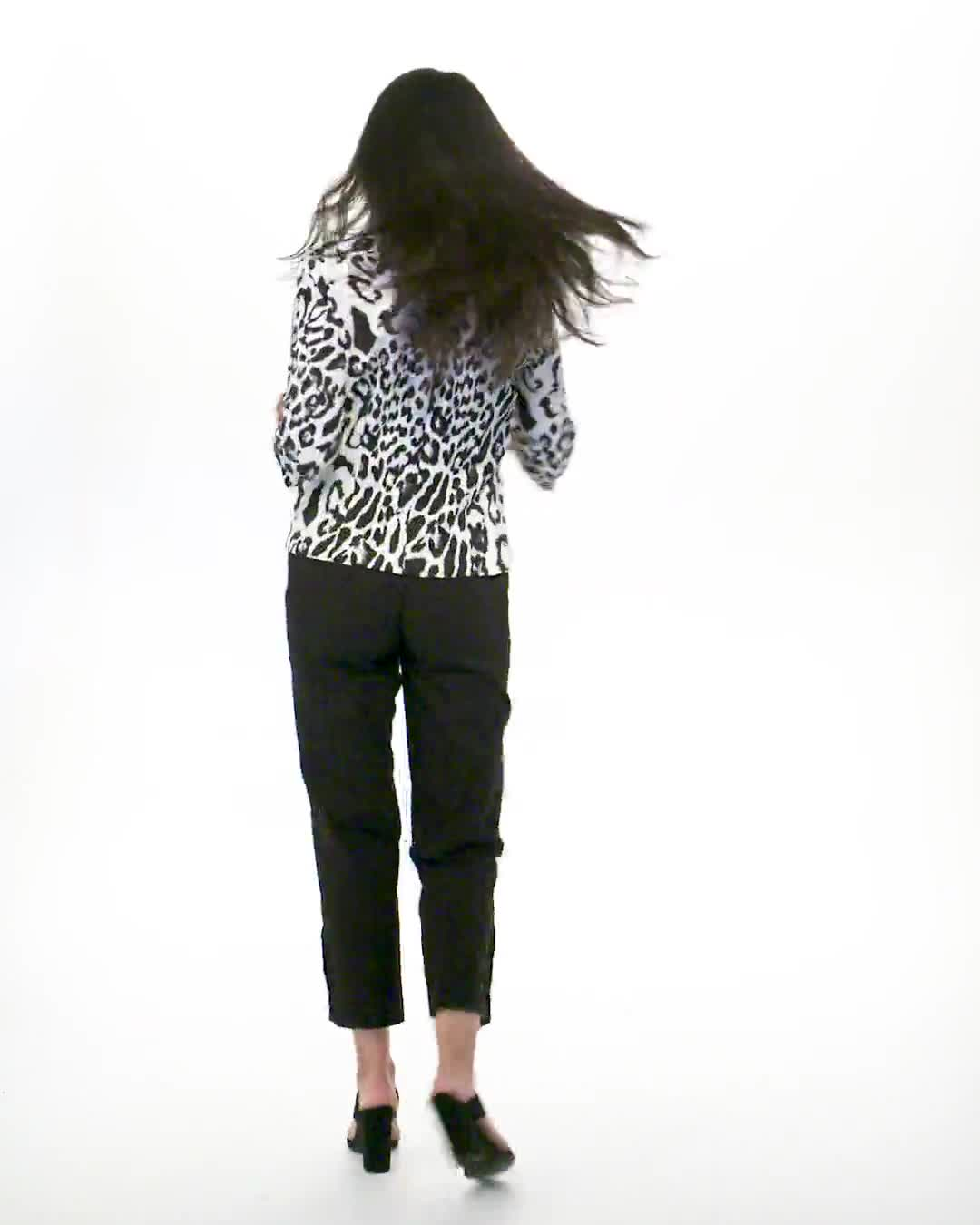Animal Print Scuba Crepe Jacket with Faux Flap Pockets - Video