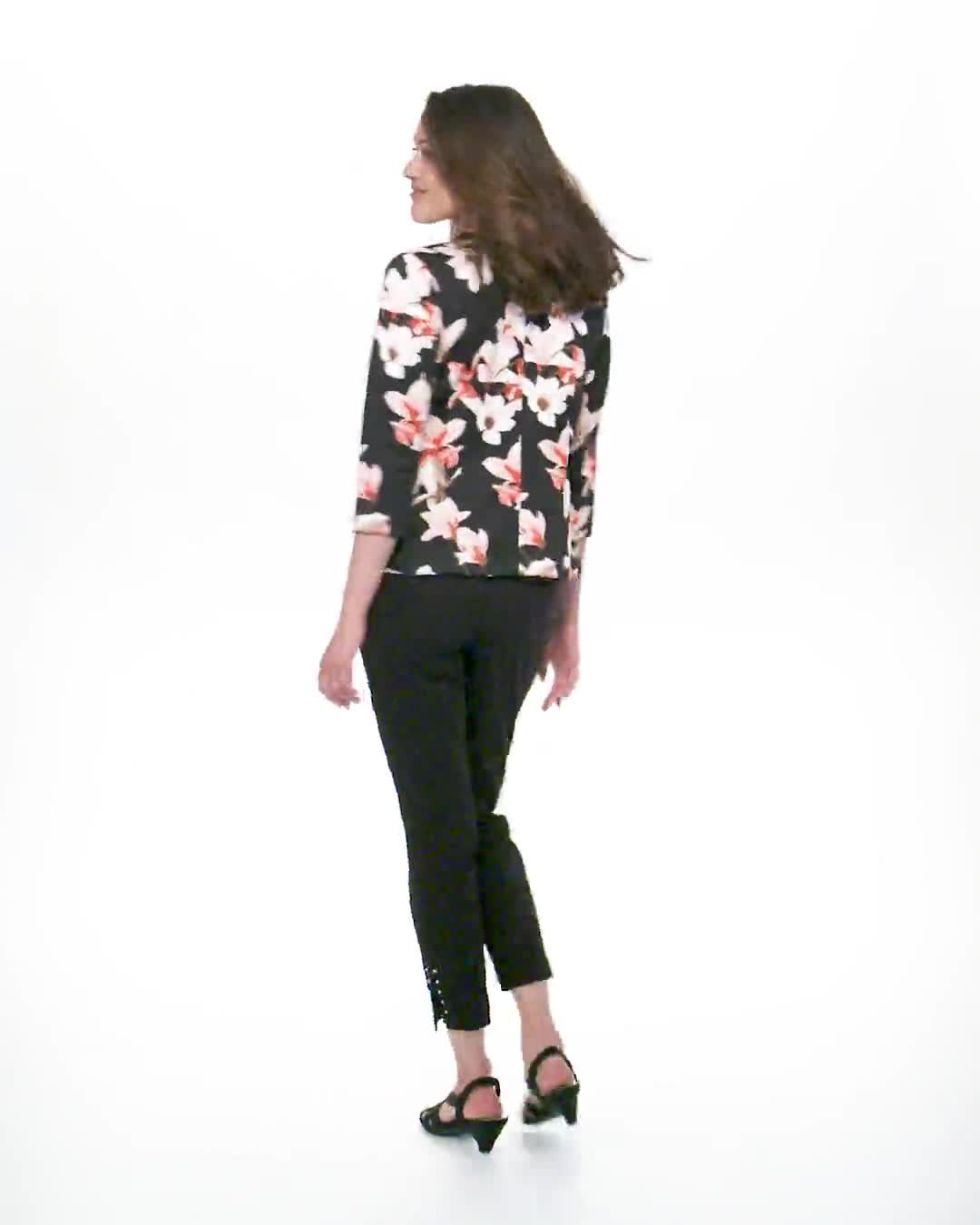 Floral Print Scuba Crepe Faux Pocket Jacket - Video