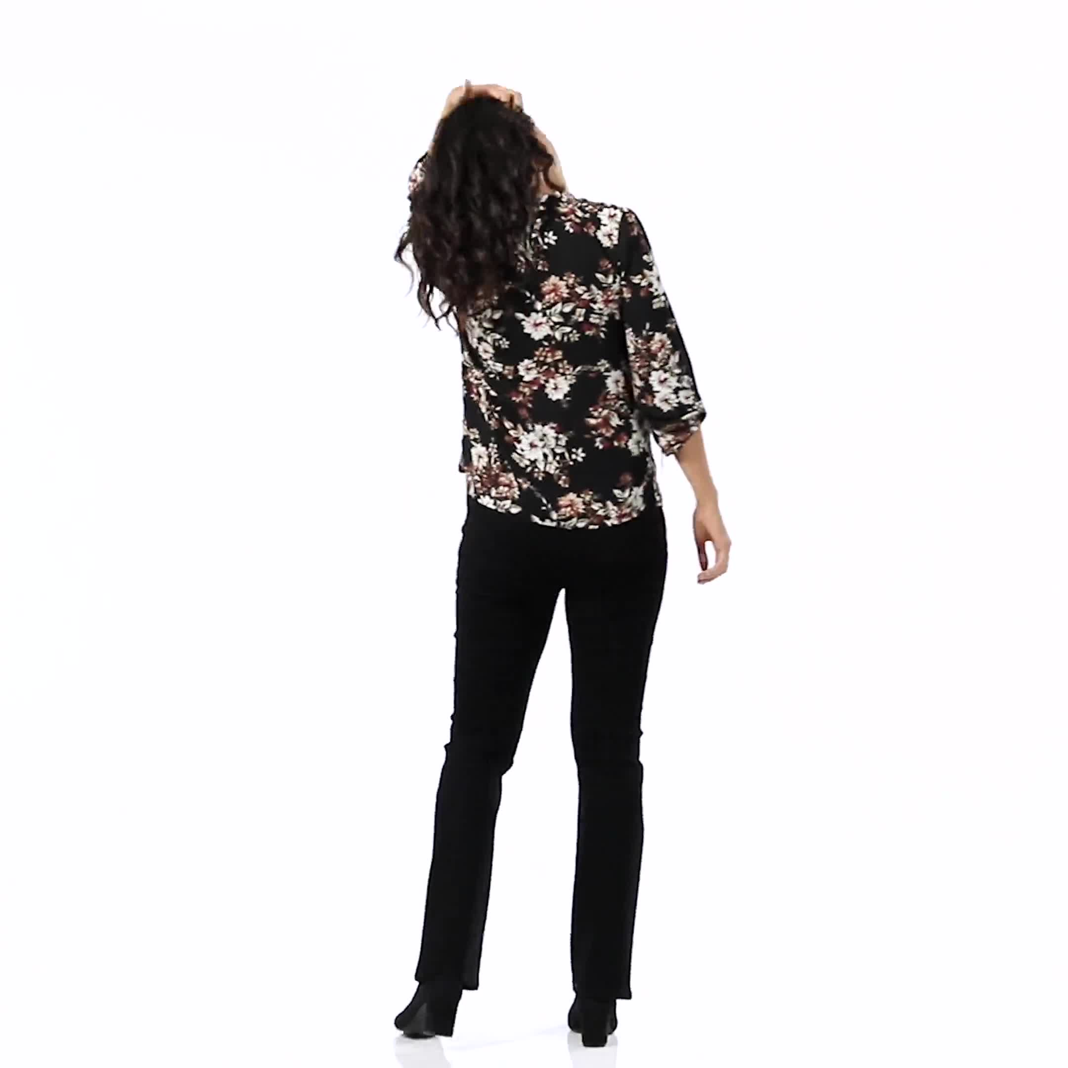 Floral Tie Neck Blouse - Video